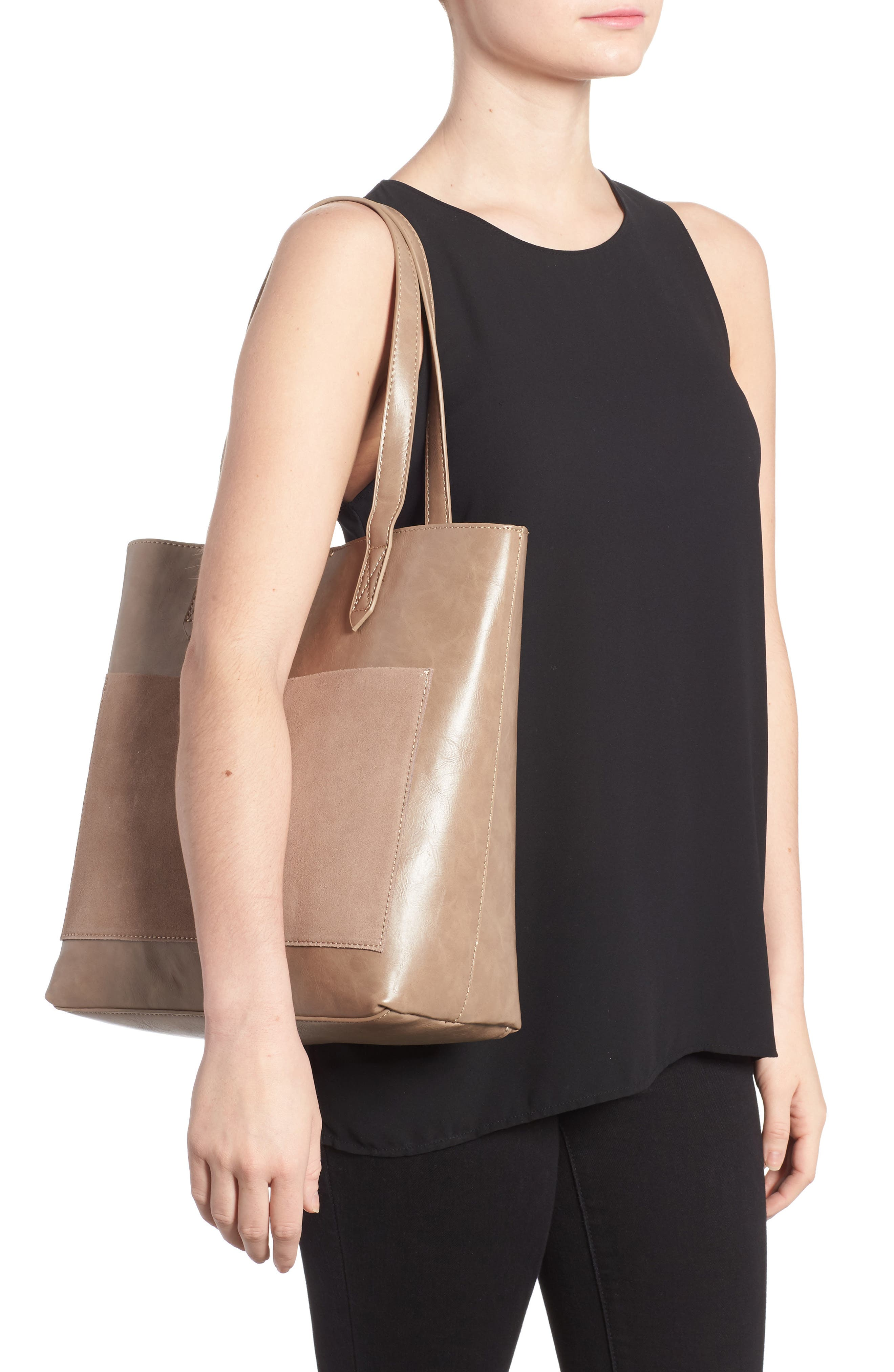 Trish Faux Leather Tote,                             Alternate thumbnail 2, color,                             Taupe
