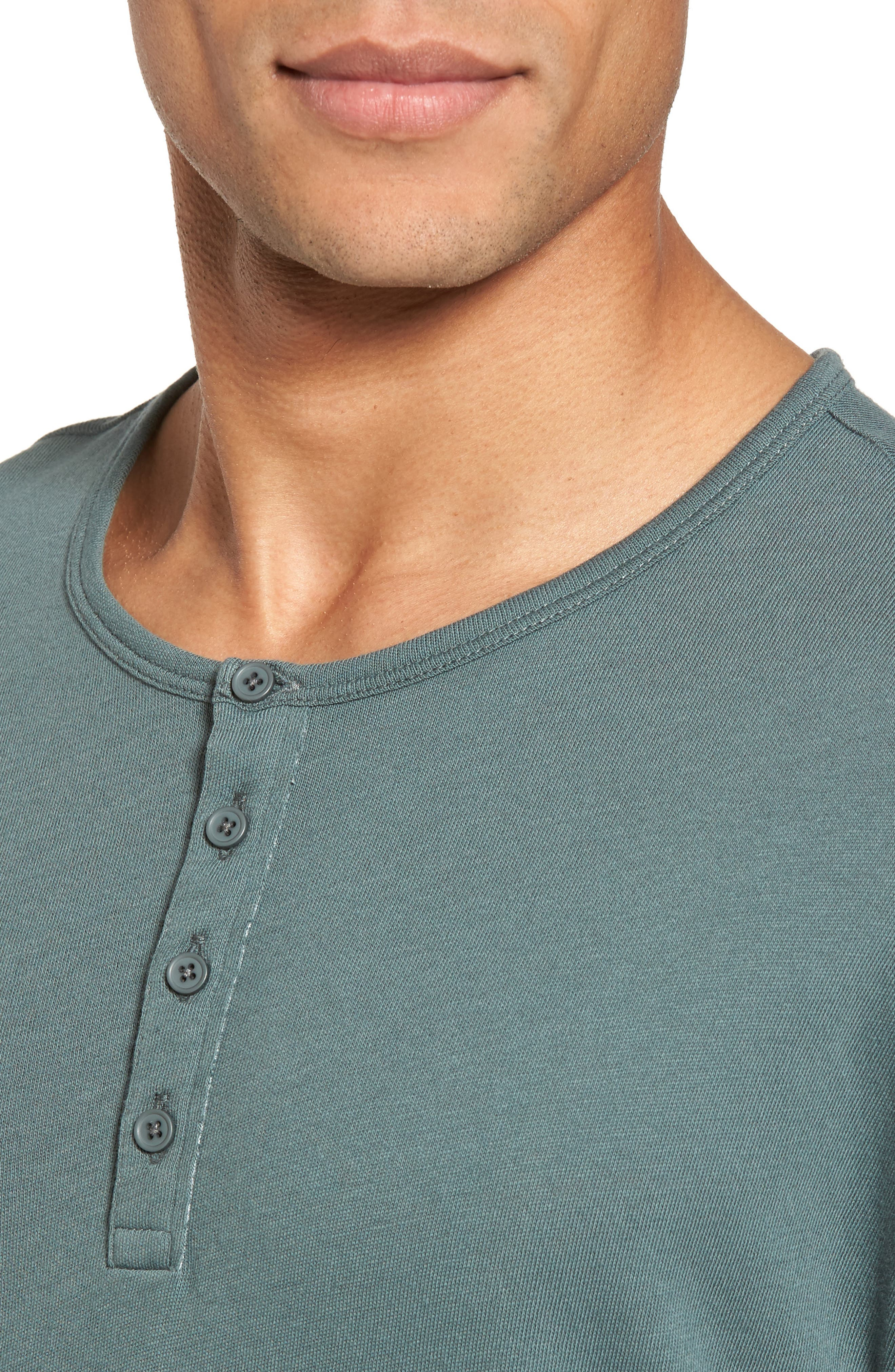 Raw Edge Long Sleeve Henley T-Shirt,                             Alternate thumbnail 4, color,                             Cilantro
