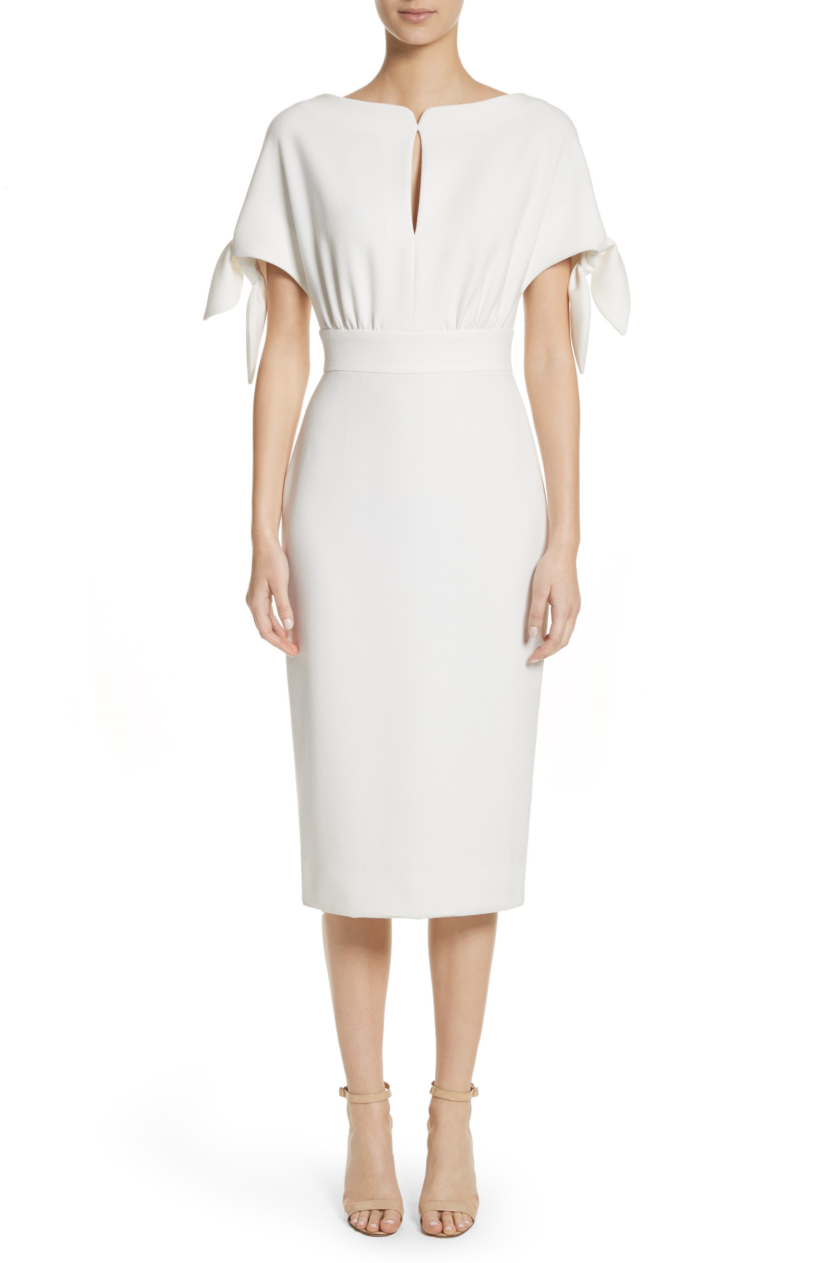Lela Rose Tie Sleeve Wool Blend Sheath Dress