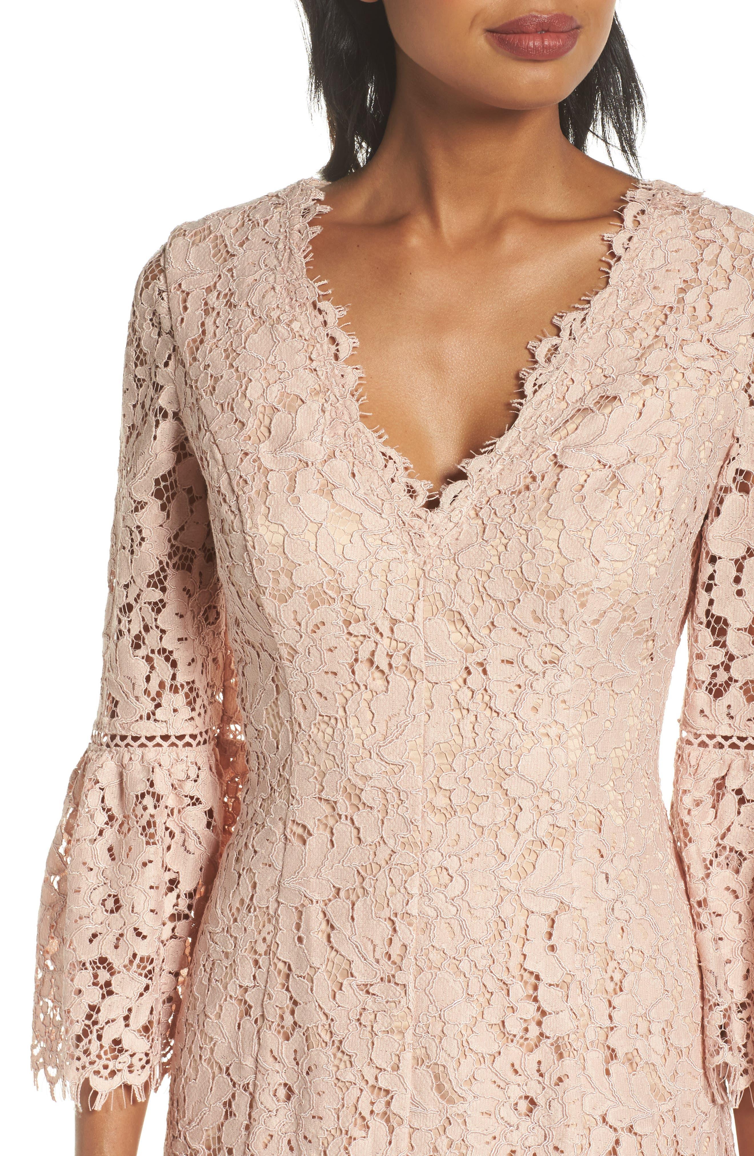 Alternate Image 4  - Eliza J Bell Sleeve Lace Dress (Regular & Petite)