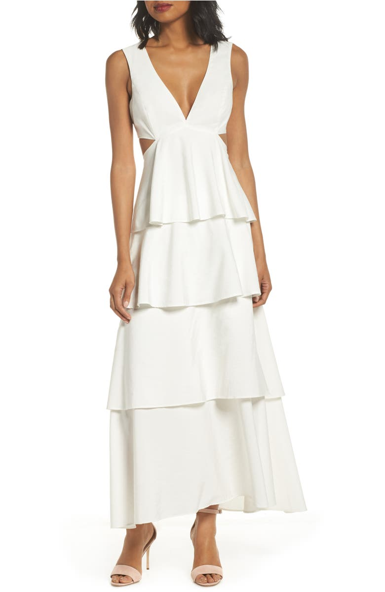 Cutout Detail Tiered Maxi Dress,                         Main,                         color, White