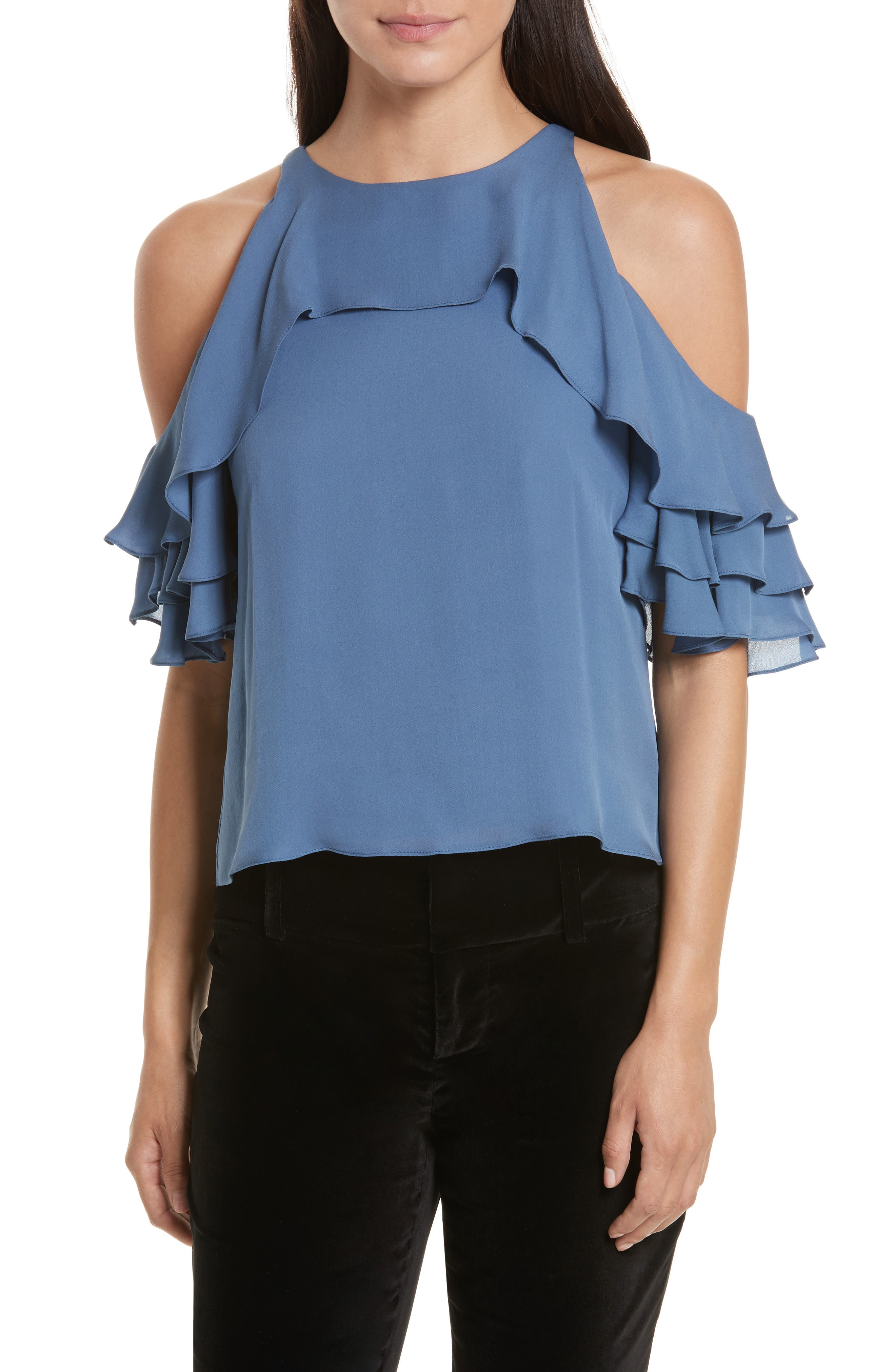 Main Image - Alice + Olivia Idalla Cold Shoulder Ruffle Silk Blouse