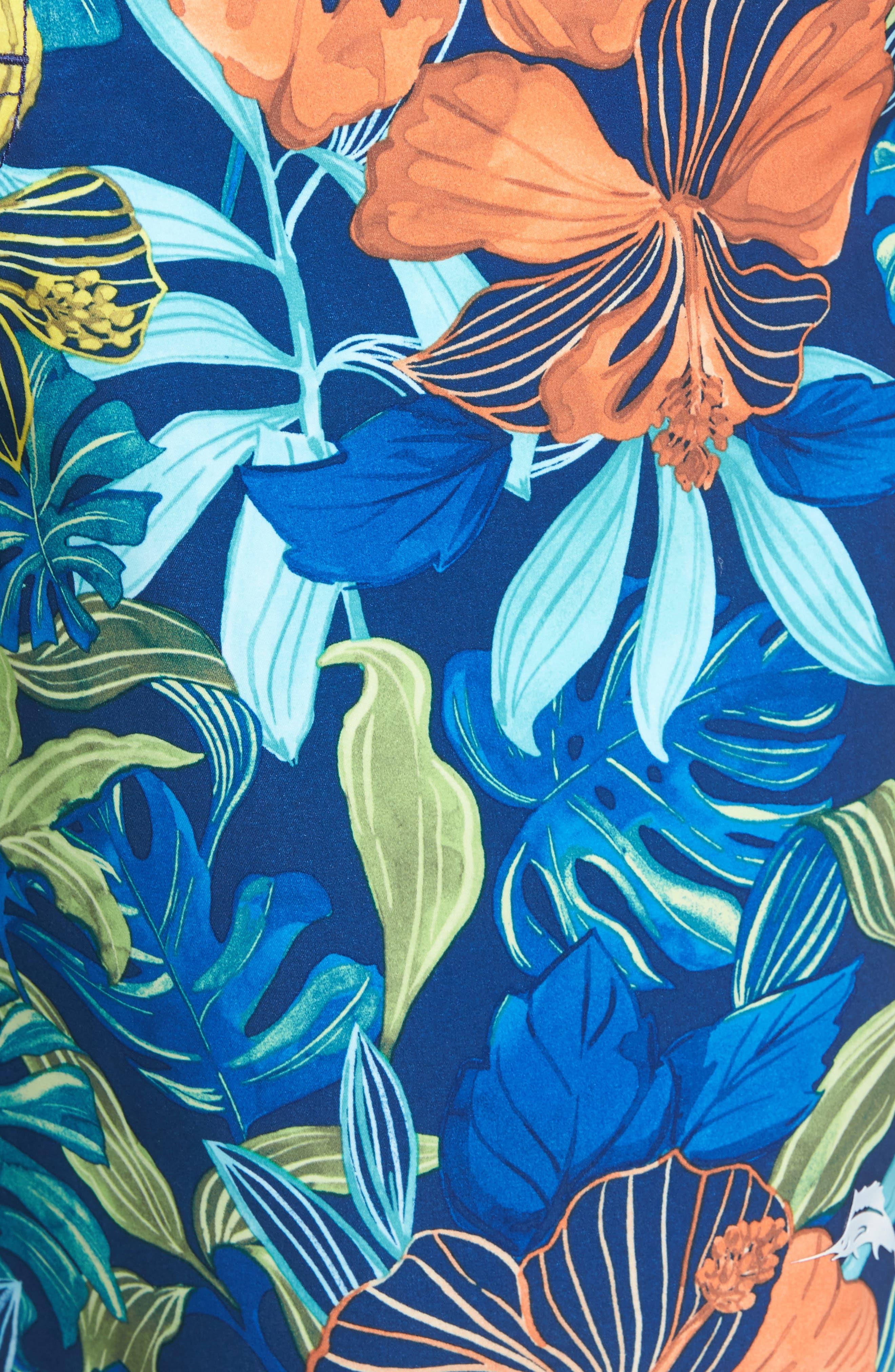 Baja Hibiscus Beach Swim Trunks,                             Alternate thumbnail 5, color,                             Kingdom Blue