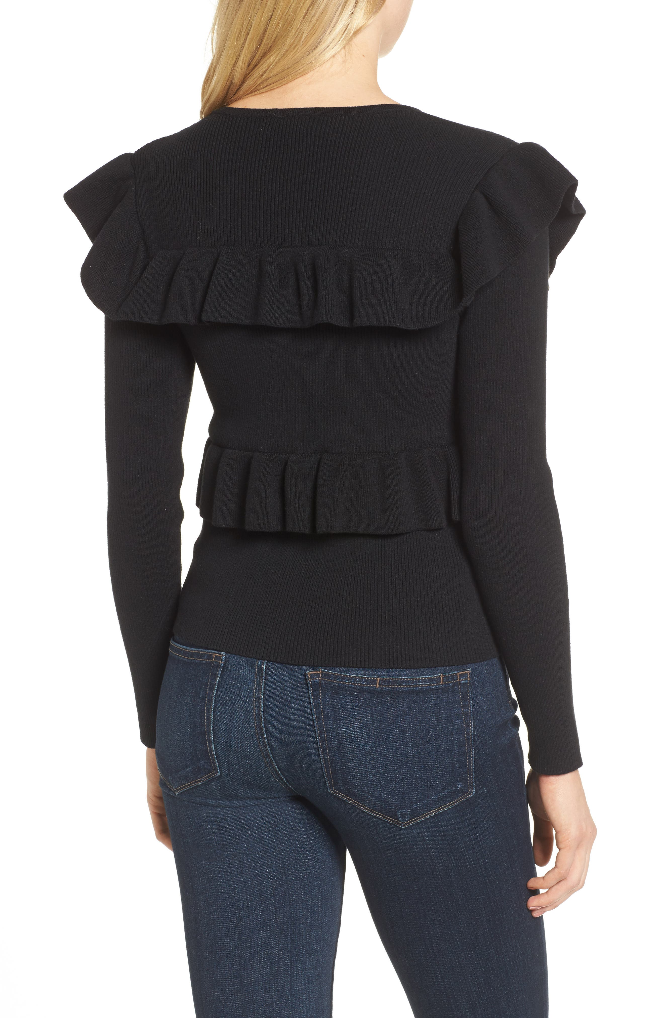 Bailey Ruffle Sweater,                             Alternate thumbnail 2, color,                             Black