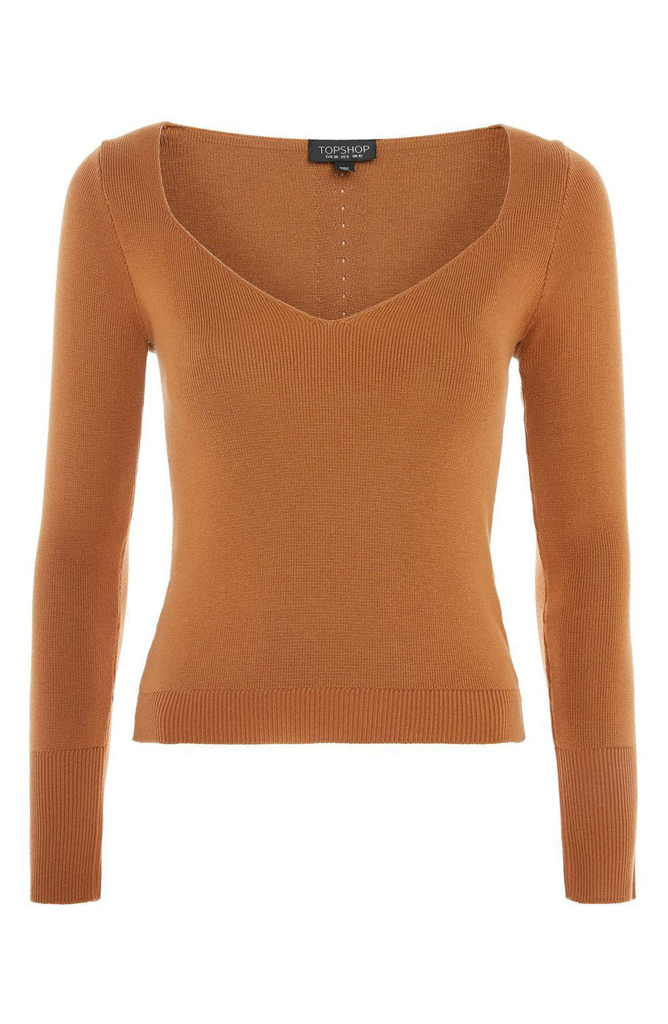 Sweetheart Neck Sweater,                             Alternate thumbnail 4, color,                             Brown