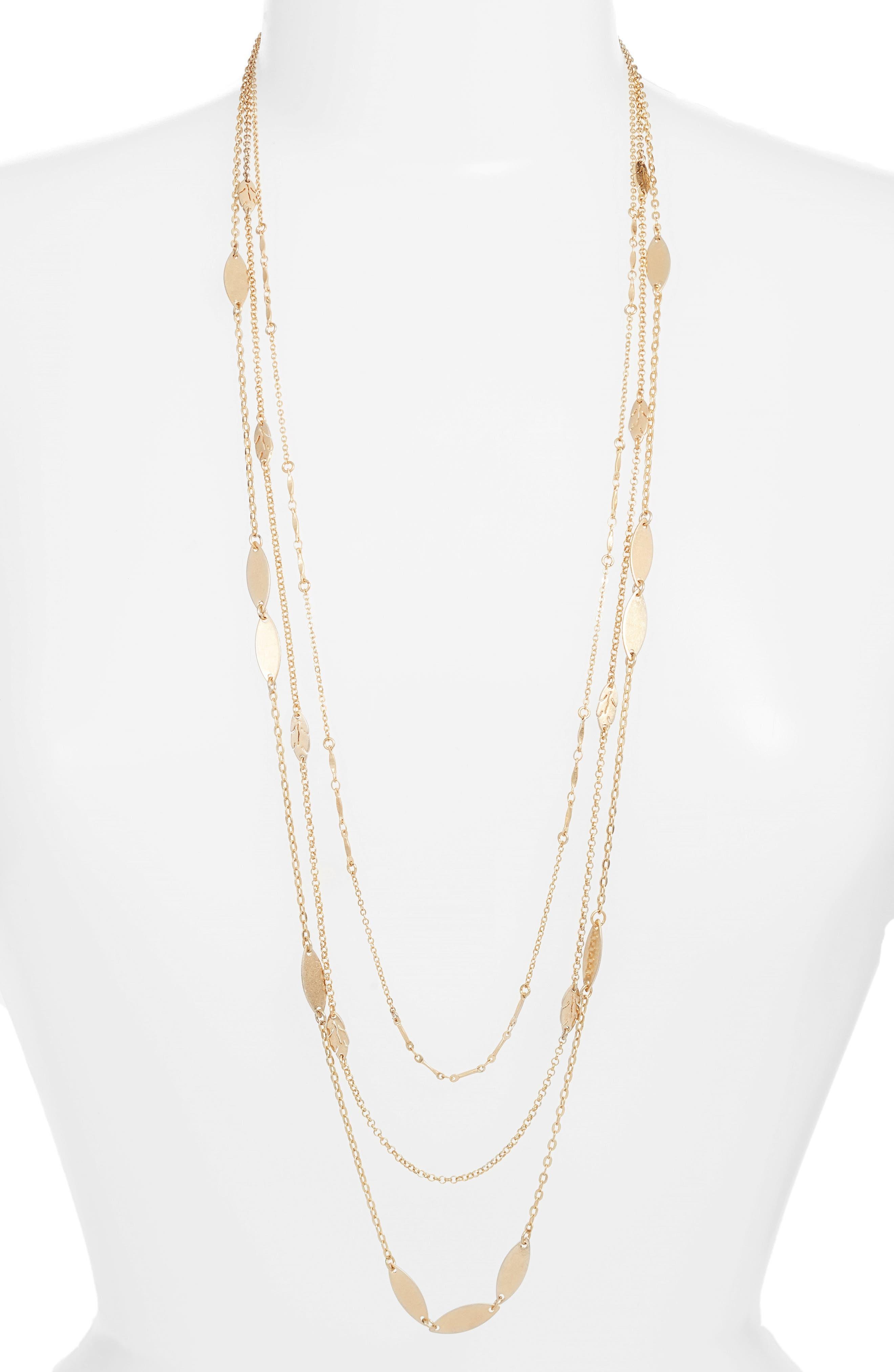 Layered Leaf Station Necklace,                         Main,                         color, Gold
