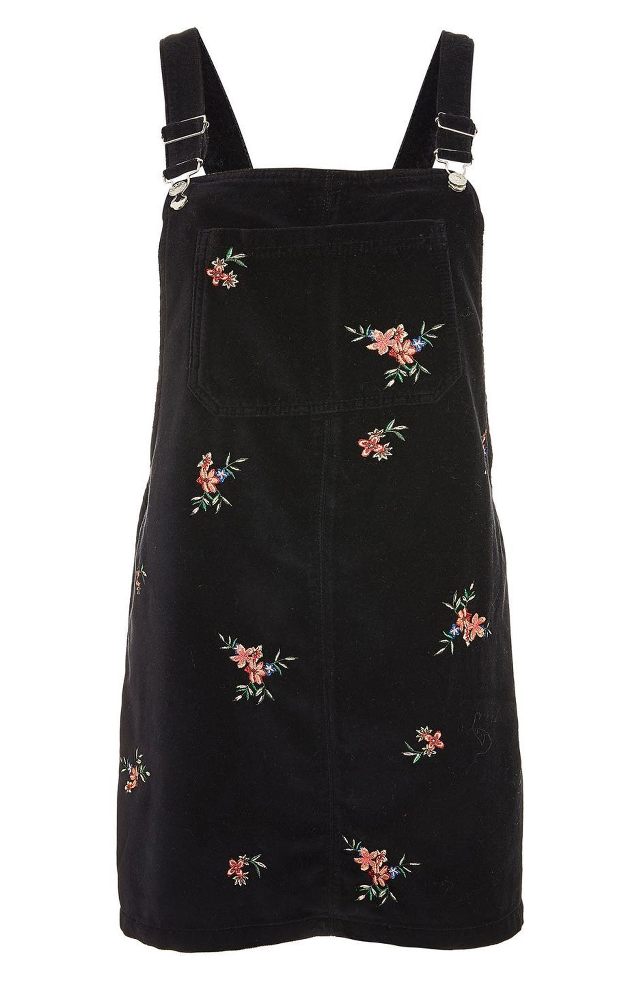 Embroidered Velvet Pinafore Dress,                             Alternate thumbnail 4, color,                             Black Multi