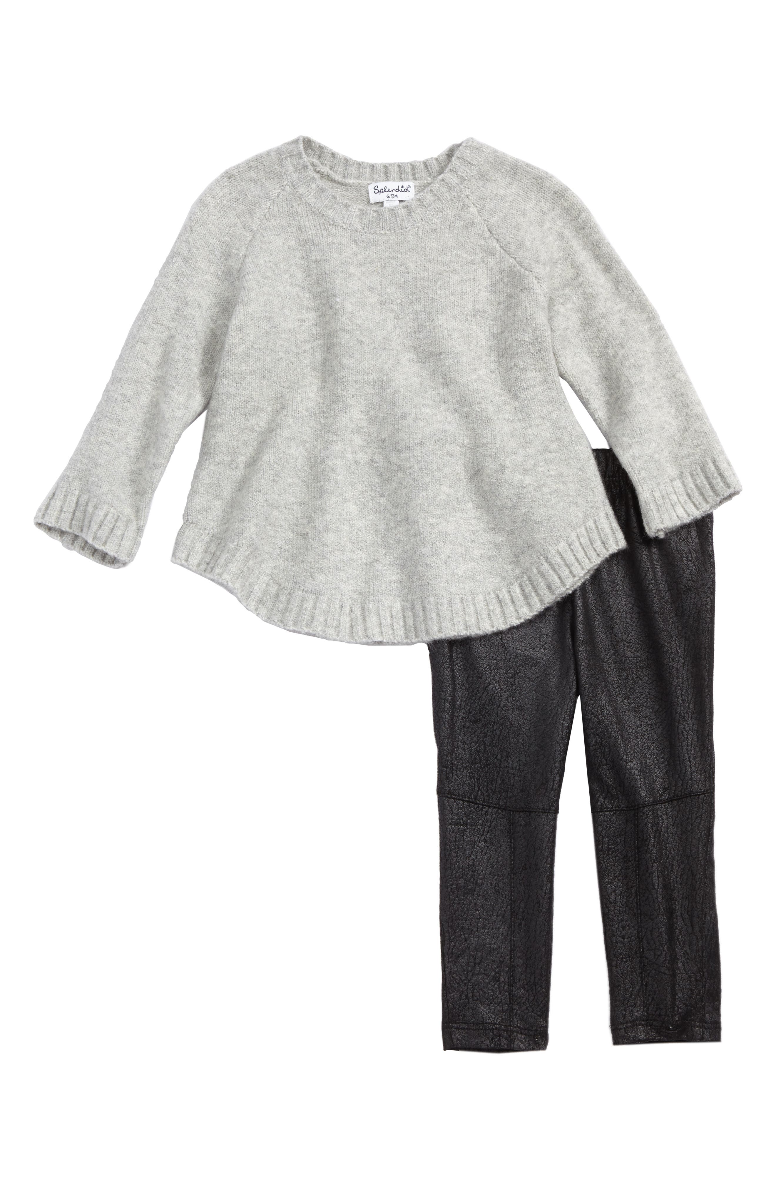 Sweater and Faux Leather Leggings Set,                             Main thumbnail 1, color,                             Grey Heather