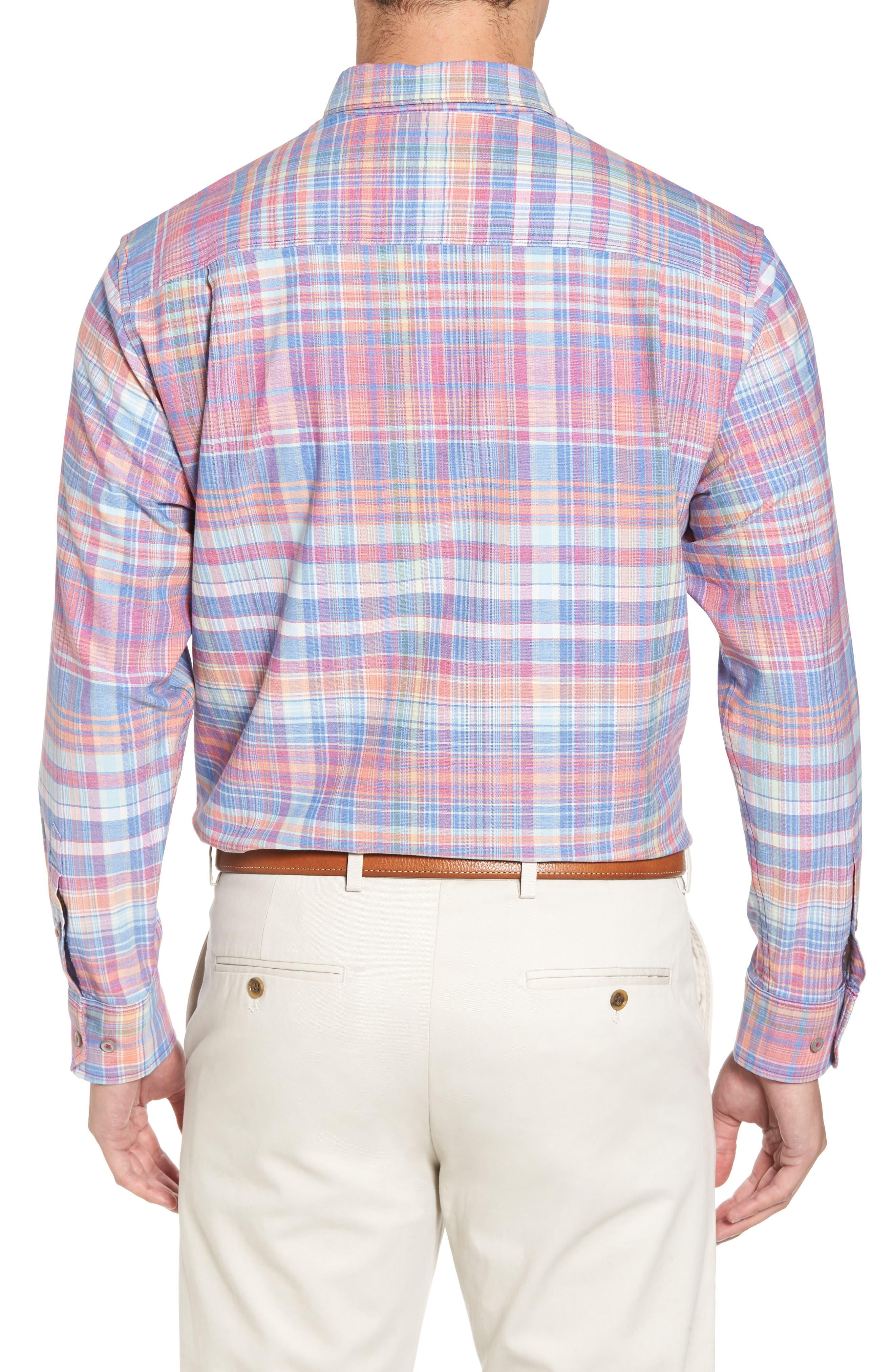 Mangrove Madras Plaid Sport Shirt,                             Alternate thumbnail 2, color,                             Virtual Pink