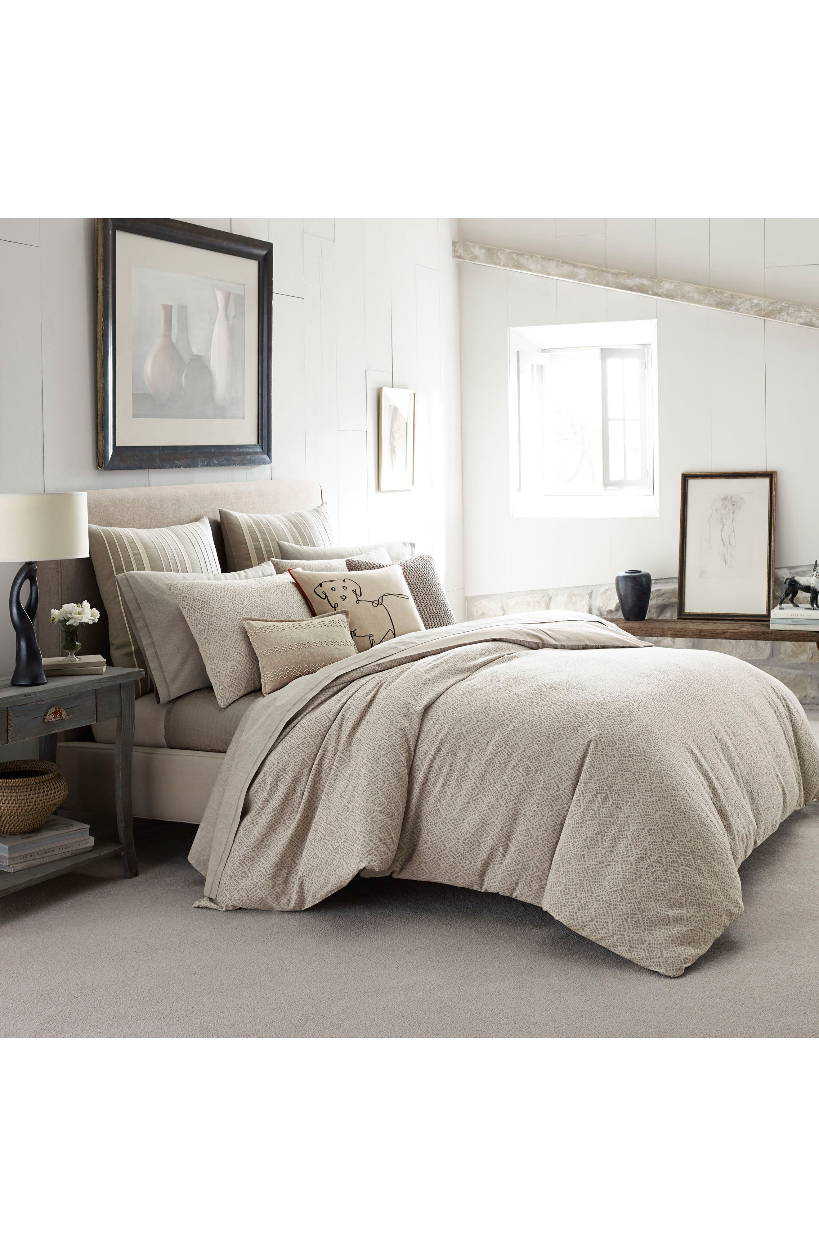Mosaic Tile Duvet Cover,                         Main,                         color, Beige