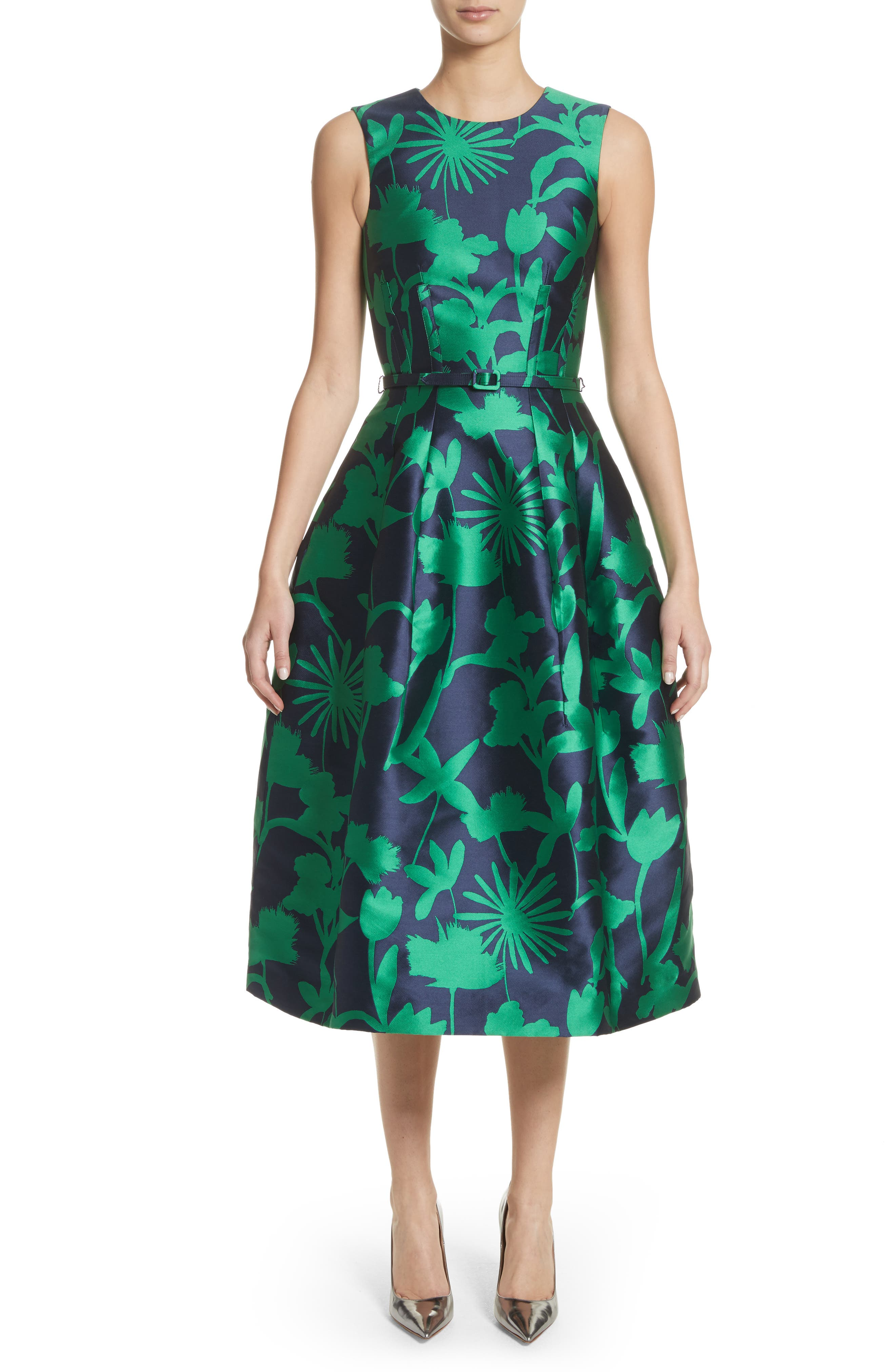 Leaf Print Belted Mikado Dress,                             Main thumbnail 1, color,                             Evergreen