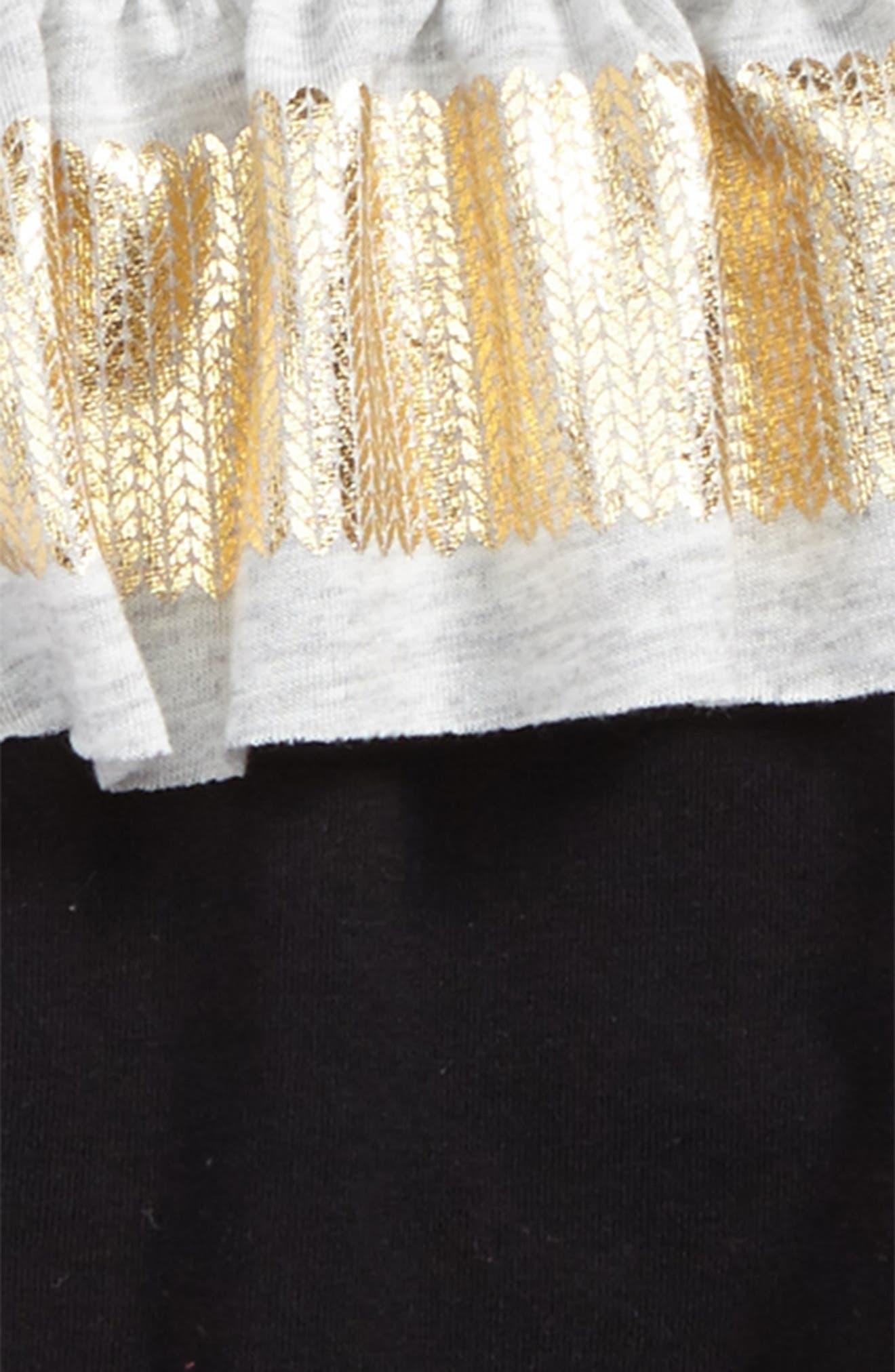 Shimmer Stripe Ruffle Top & Leggings Set,                             Alternate thumbnail 2, color,                             Stripe