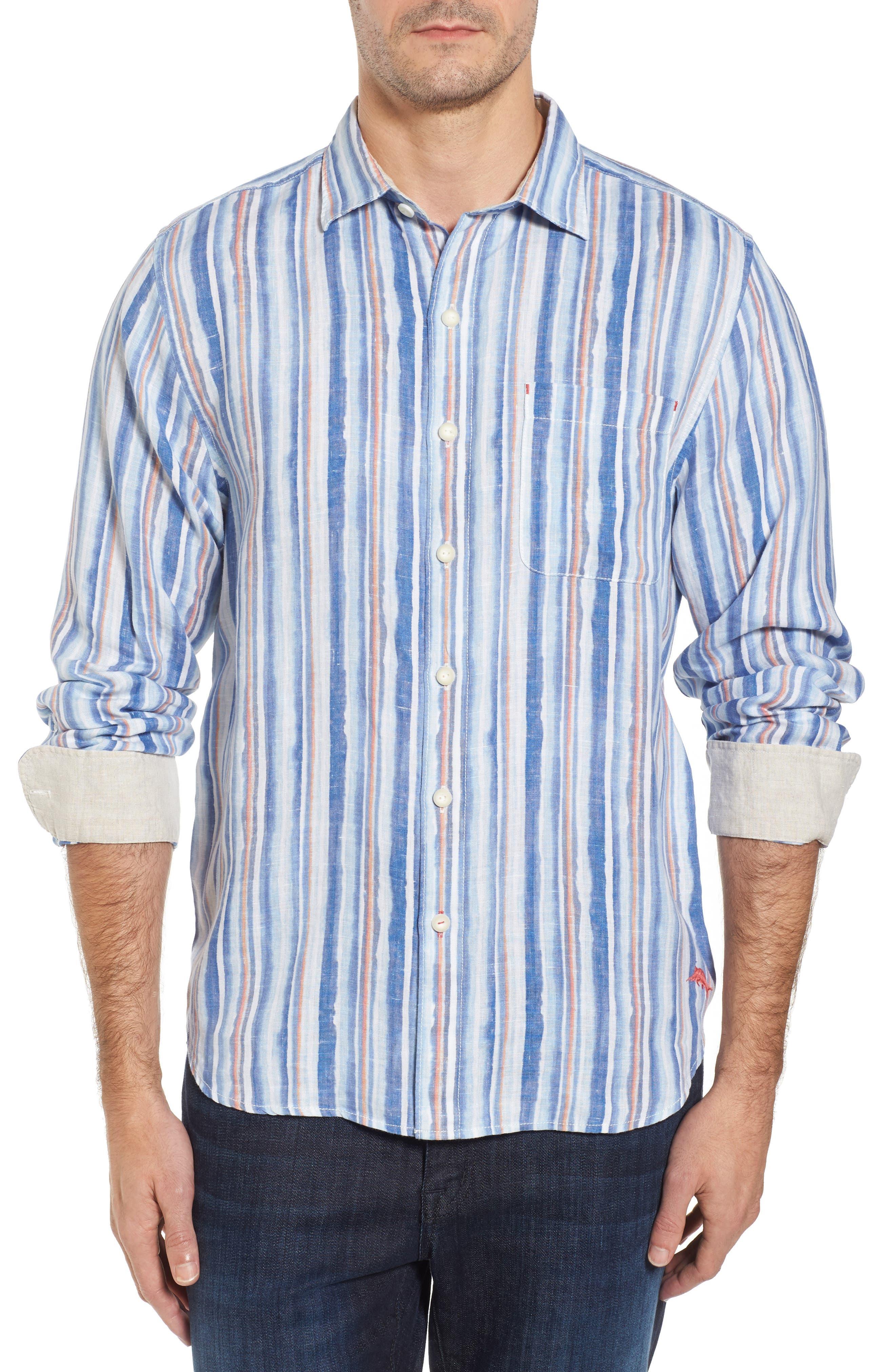Watercrest Stripe Linen Sport Shirt,                         Main,                         color, Cobalt Sea