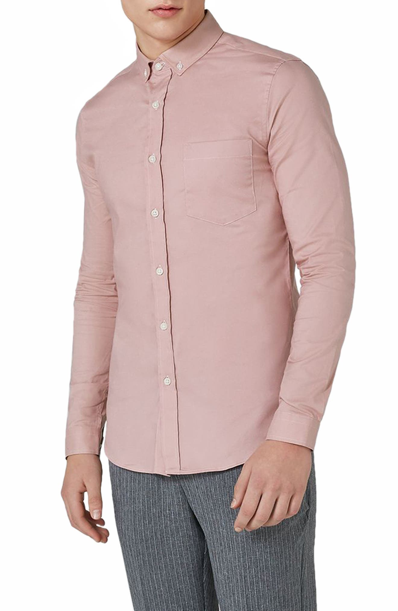 Muscle Fit Oxford Shirt,                         Main,                         color, Pink
