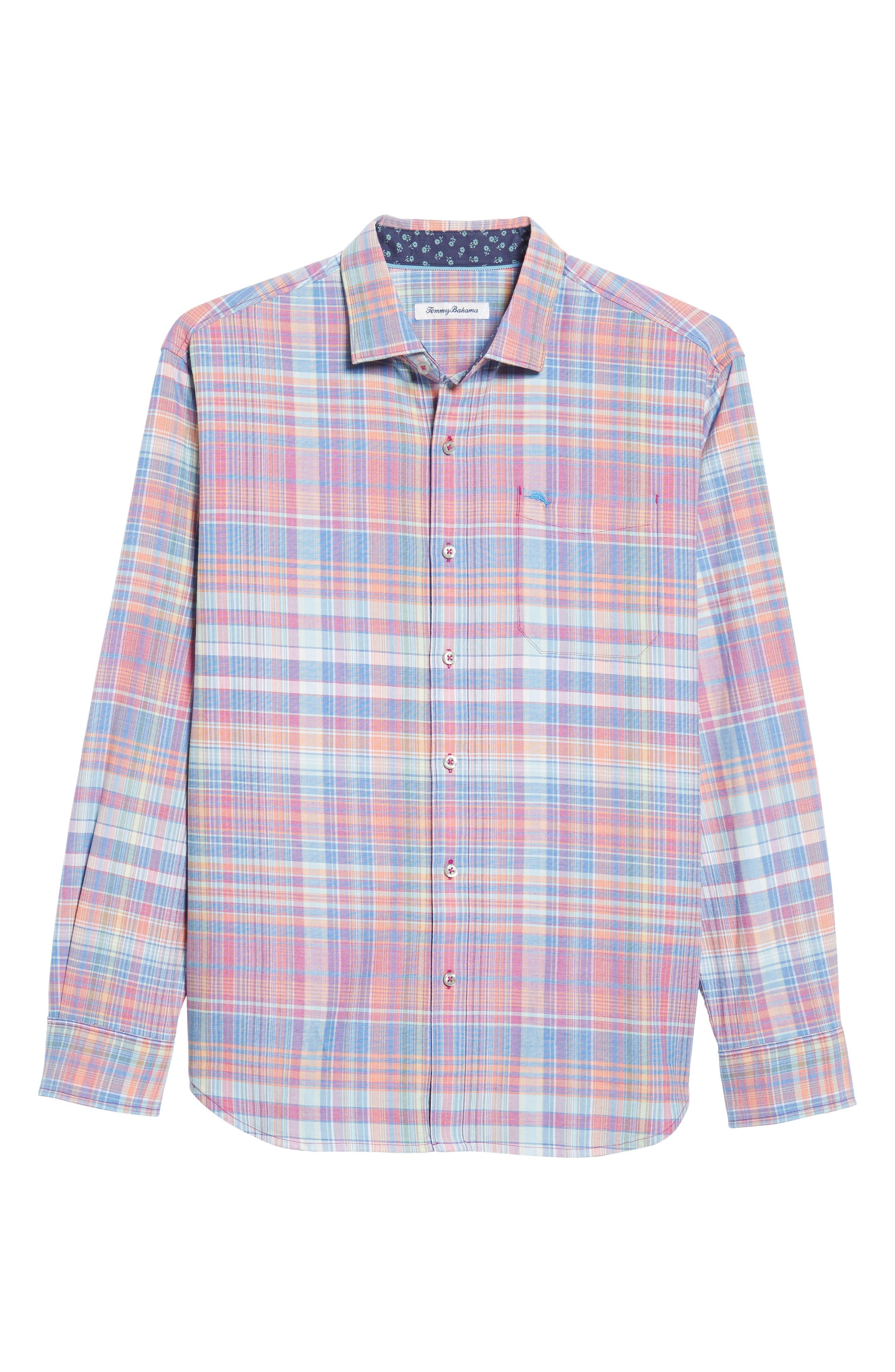 Mangrove Madras Regular Fit Sport Shirt,                             Alternate thumbnail 6, color,                             Virtual Pink