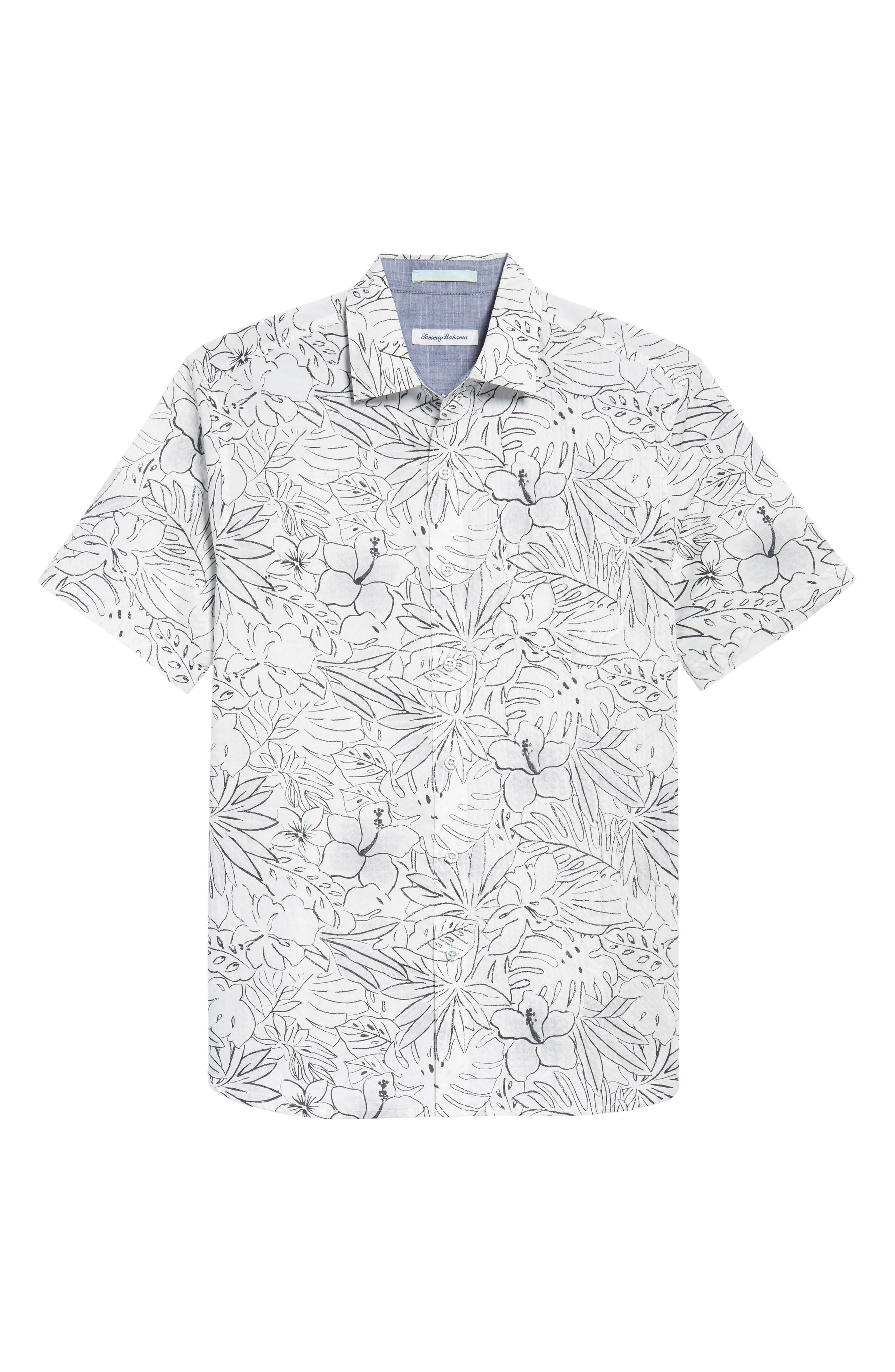 Sarasota Sketch Print Camp Shirt,                             Alternate thumbnail 6, color,                             White