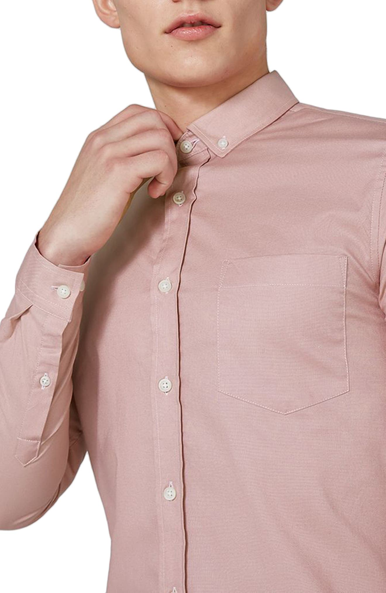 Muscle Fit Oxford Shirt,                             Alternate thumbnail 3, color,                             Pink