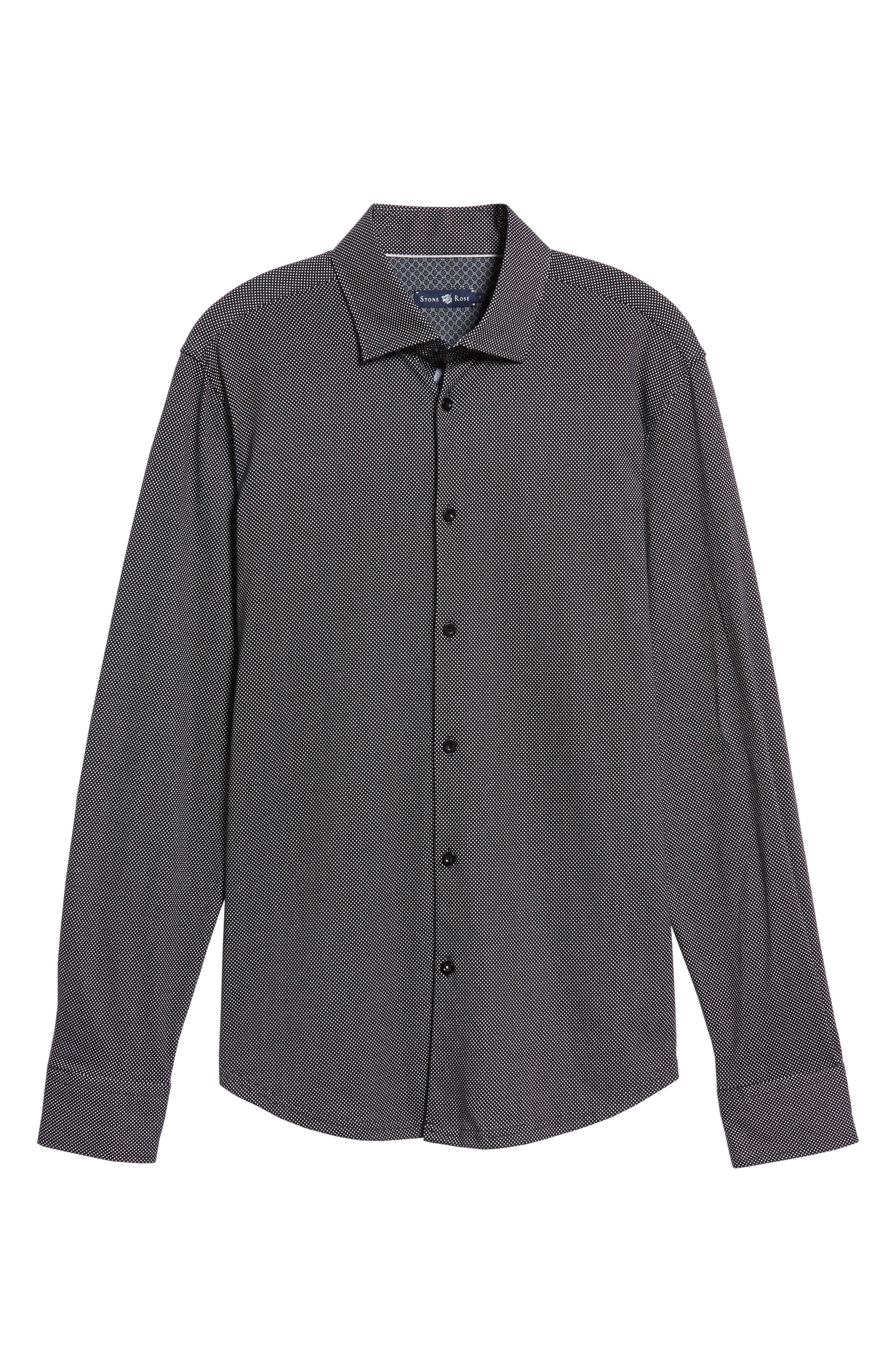 Slim Fit Micro Dot Knit Sport Shirt,                             Alternate thumbnail 6, color,                             Black
