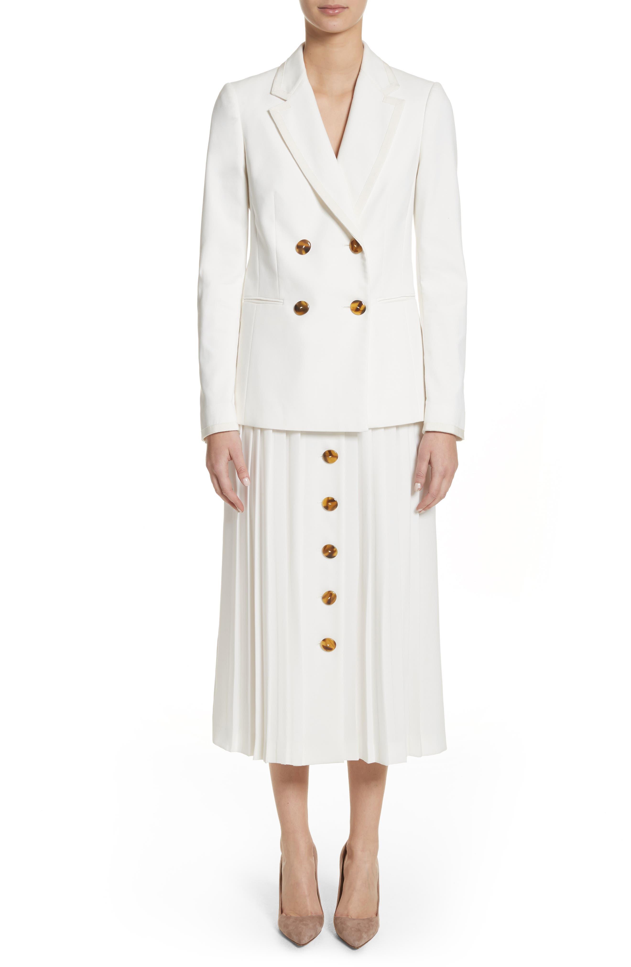 Pleated Button Skirt,                             Alternate thumbnail 7, color,                             White