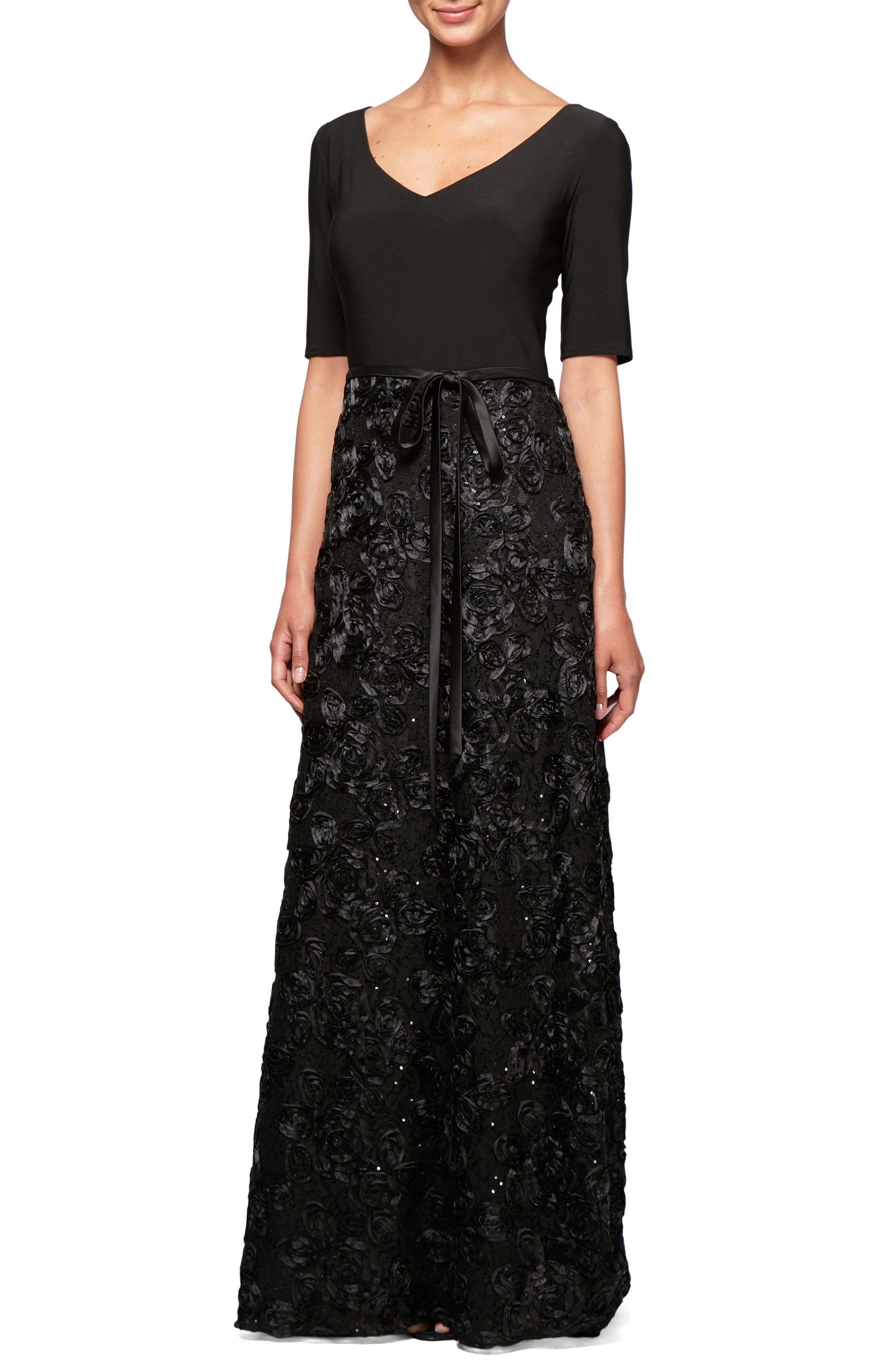Embellished Rosette A-Line Gown,                         Main,                         color, Black
