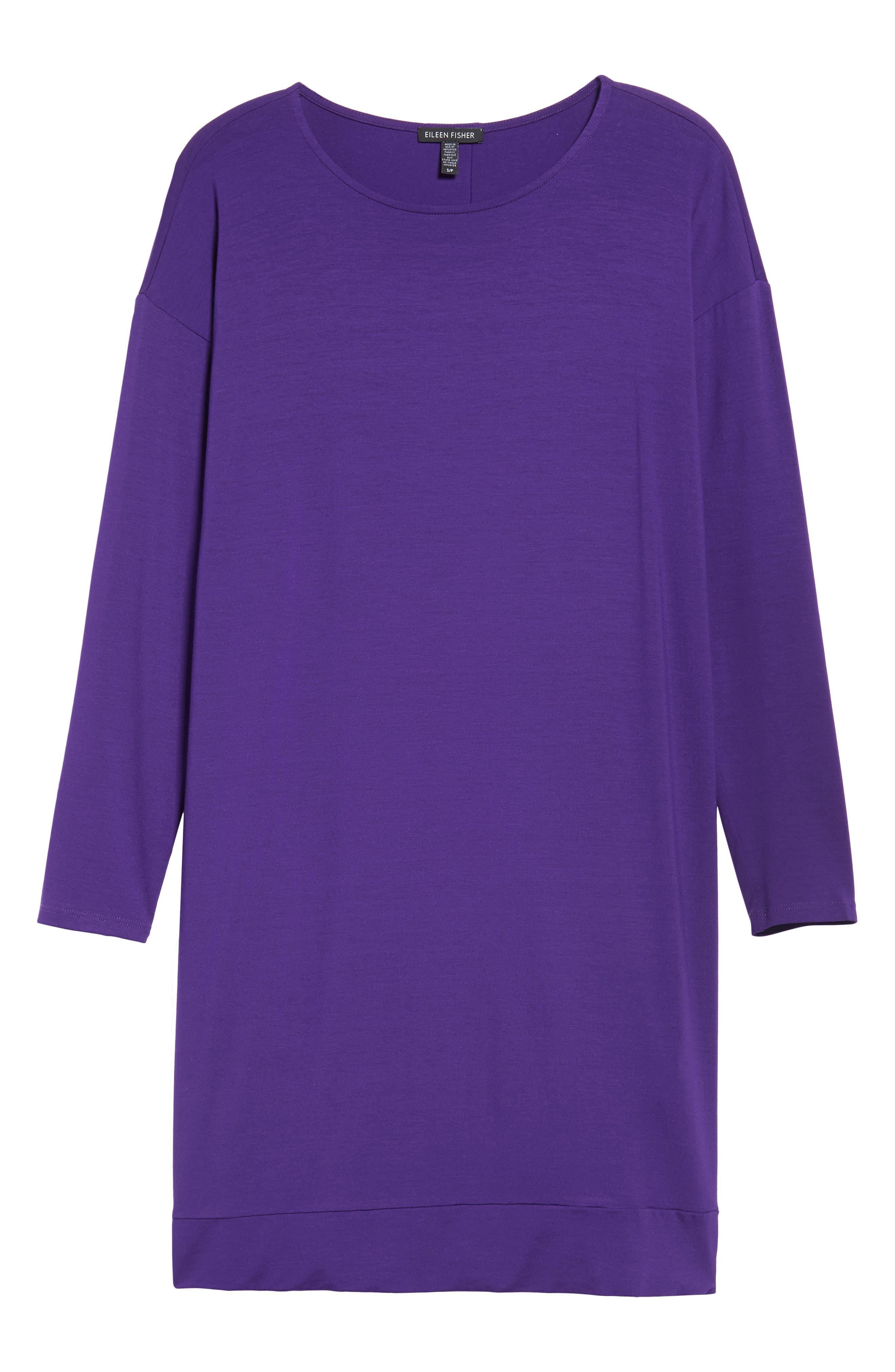 Alternate Image 1 Selected - Eileen Fisher Long Sleeve Jersey Shift Dress (Regular & Petite)