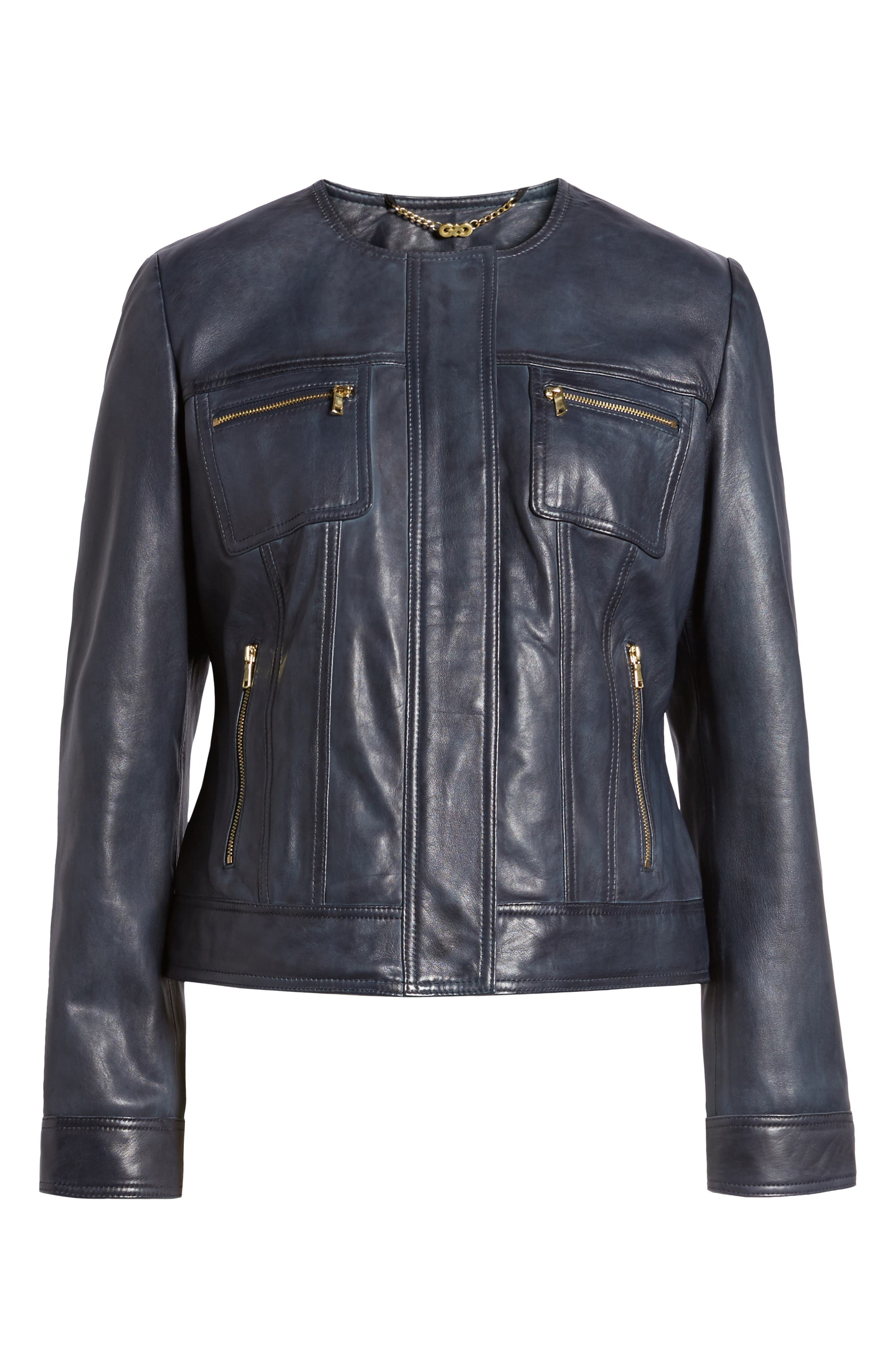 Alternate Image 6  - Cole Haan Signature Collarless Leather Trucker Jacket
