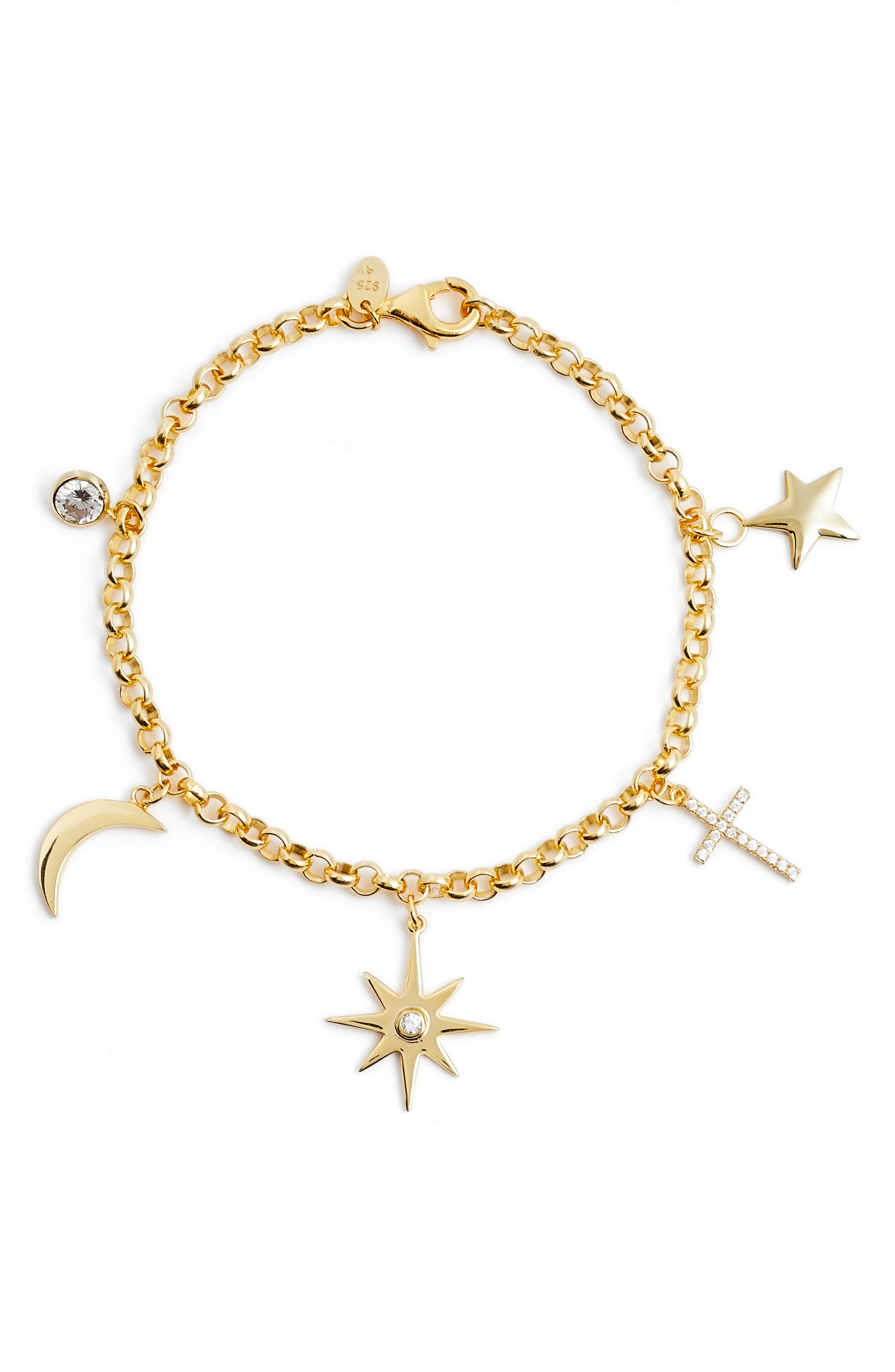 North Star Charm Bracelet,                             Main thumbnail 1, color,                             Gold