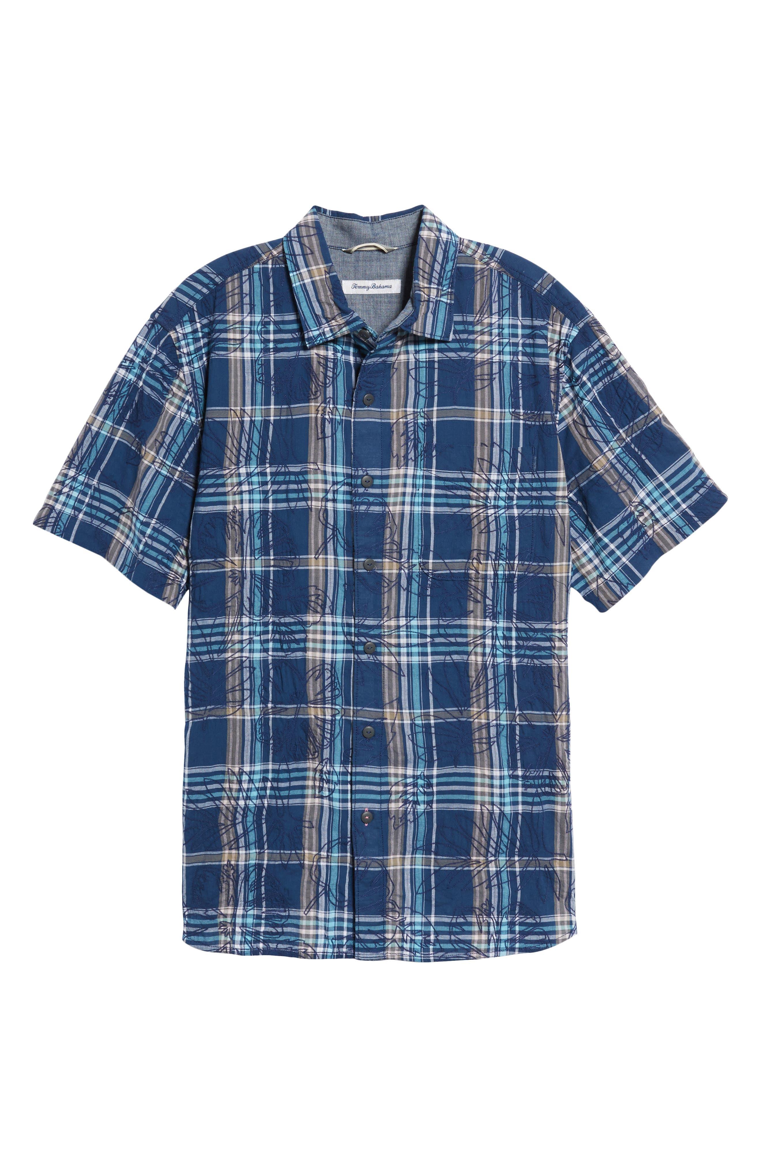 Pallazo Plaid Sport Shirt,                             Alternate thumbnail 6, color,                             Dockside Blue