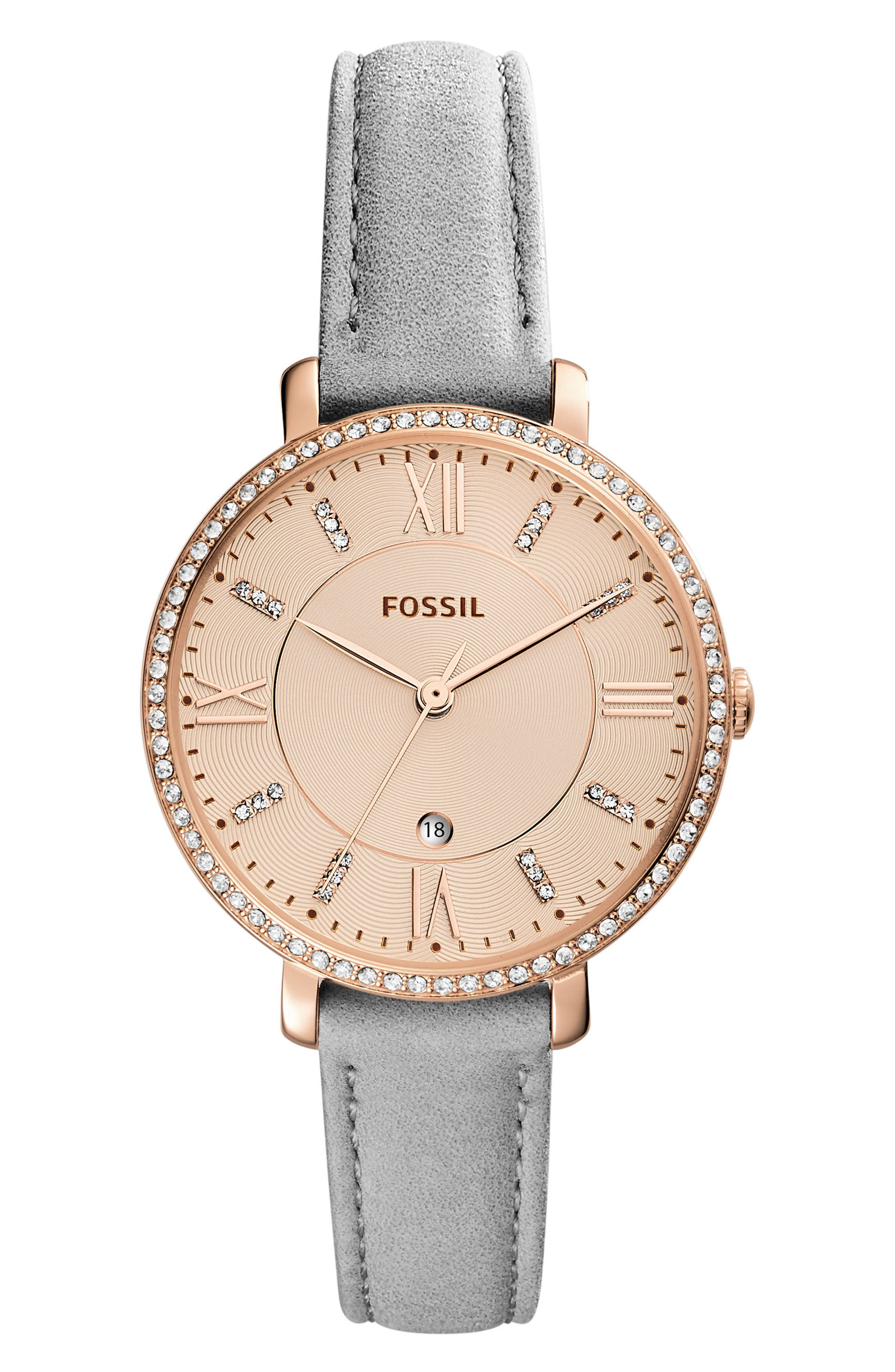 Jacqueline Leather Strap Watch, 36mm,                         Main,                         color, Grey/ Rose Gold