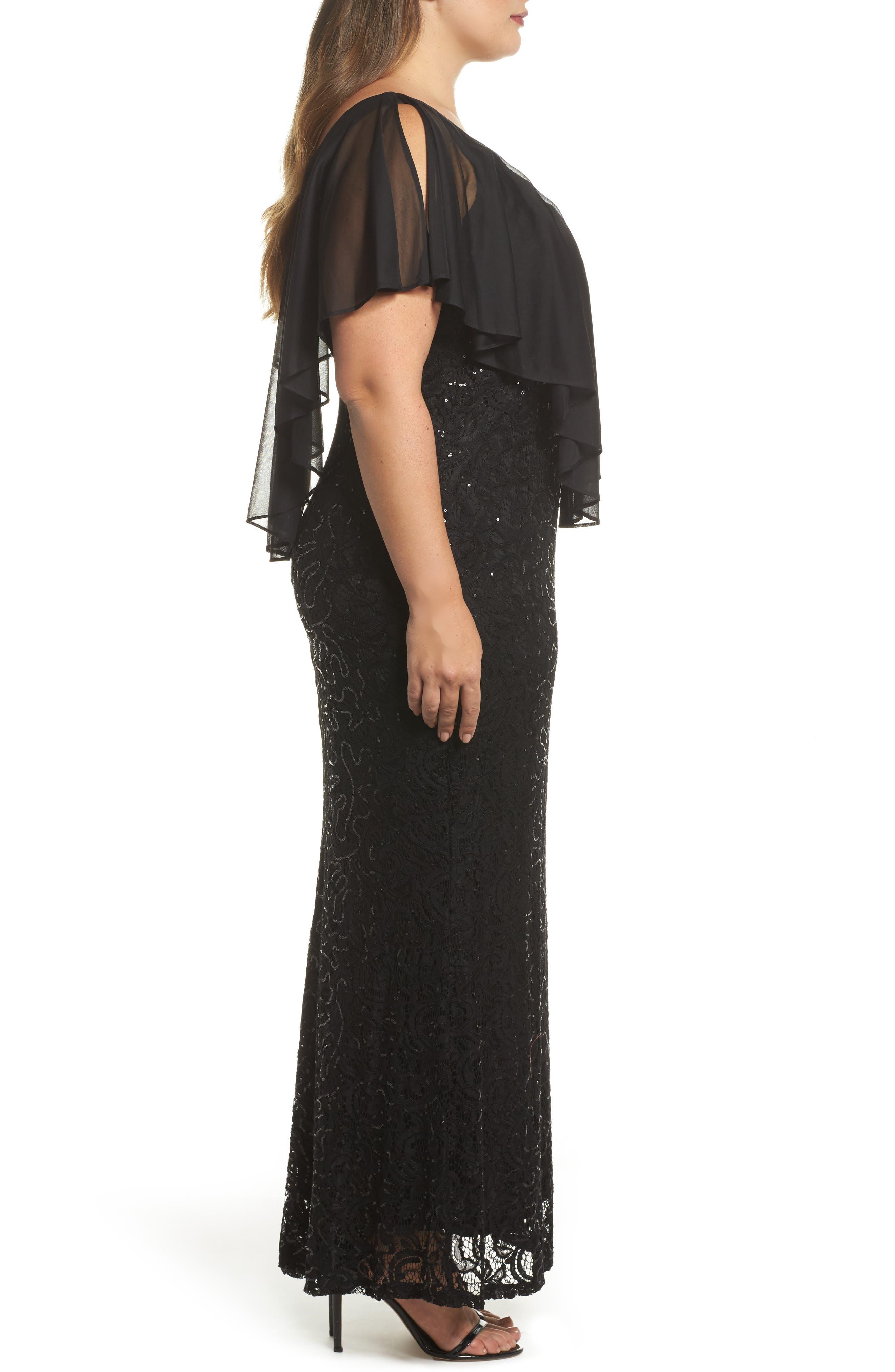 Capelet Sequin Lace A-Line Gown,                             Alternate thumbnail 3, color,                             Black