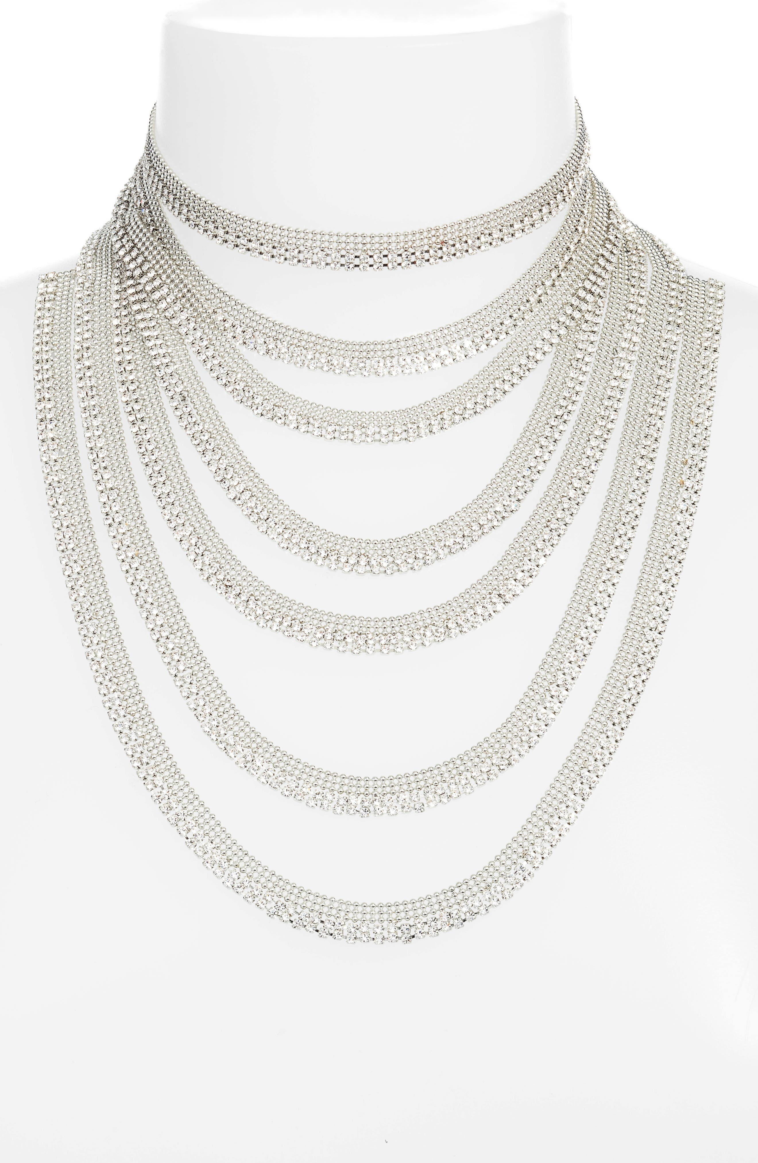Multistrand Statement Necklace,                             Alternate thumbnail 2, color,                             Silver