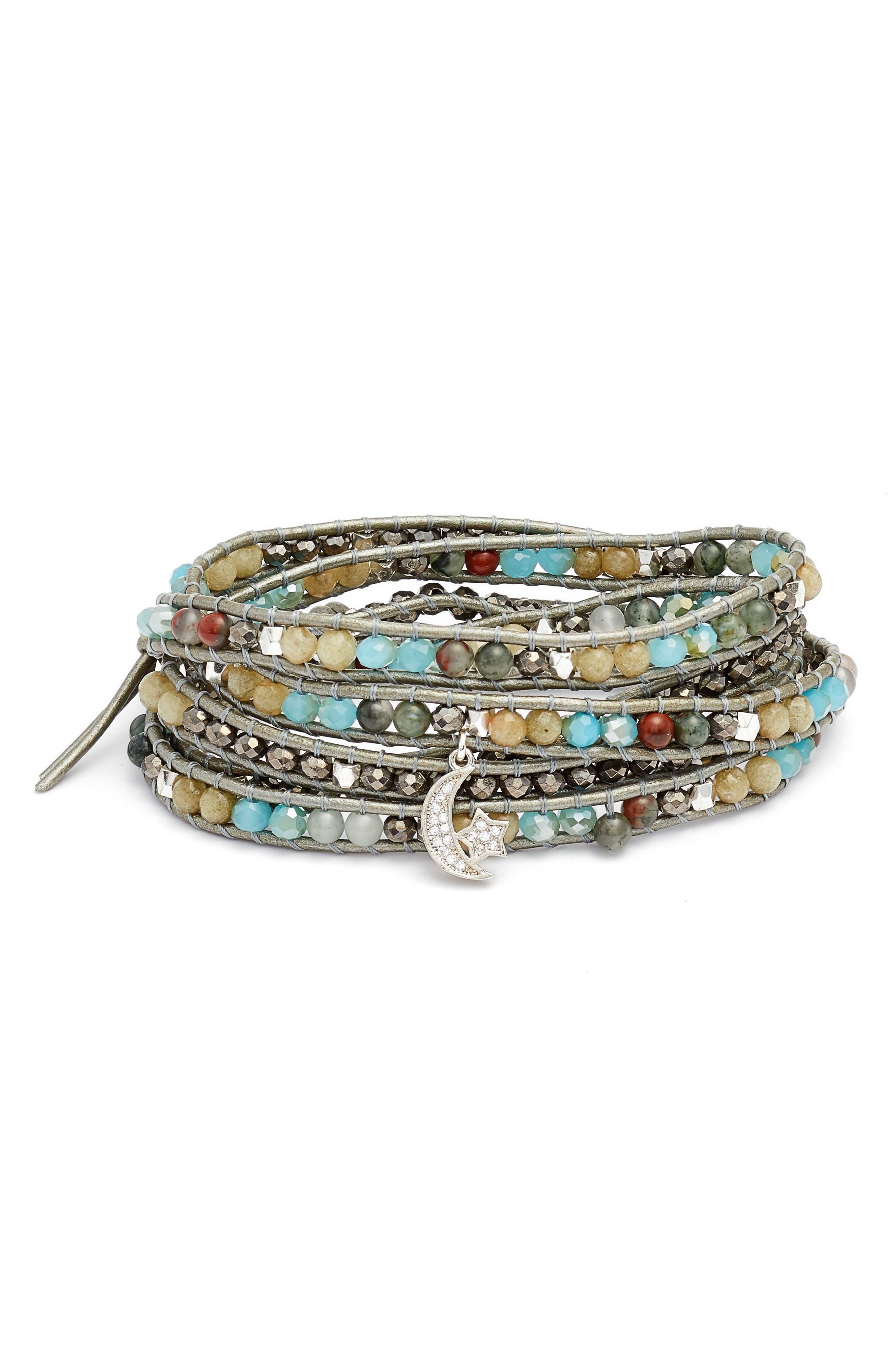 Wrap Bracelet,                         Main,                         color, Aqua
