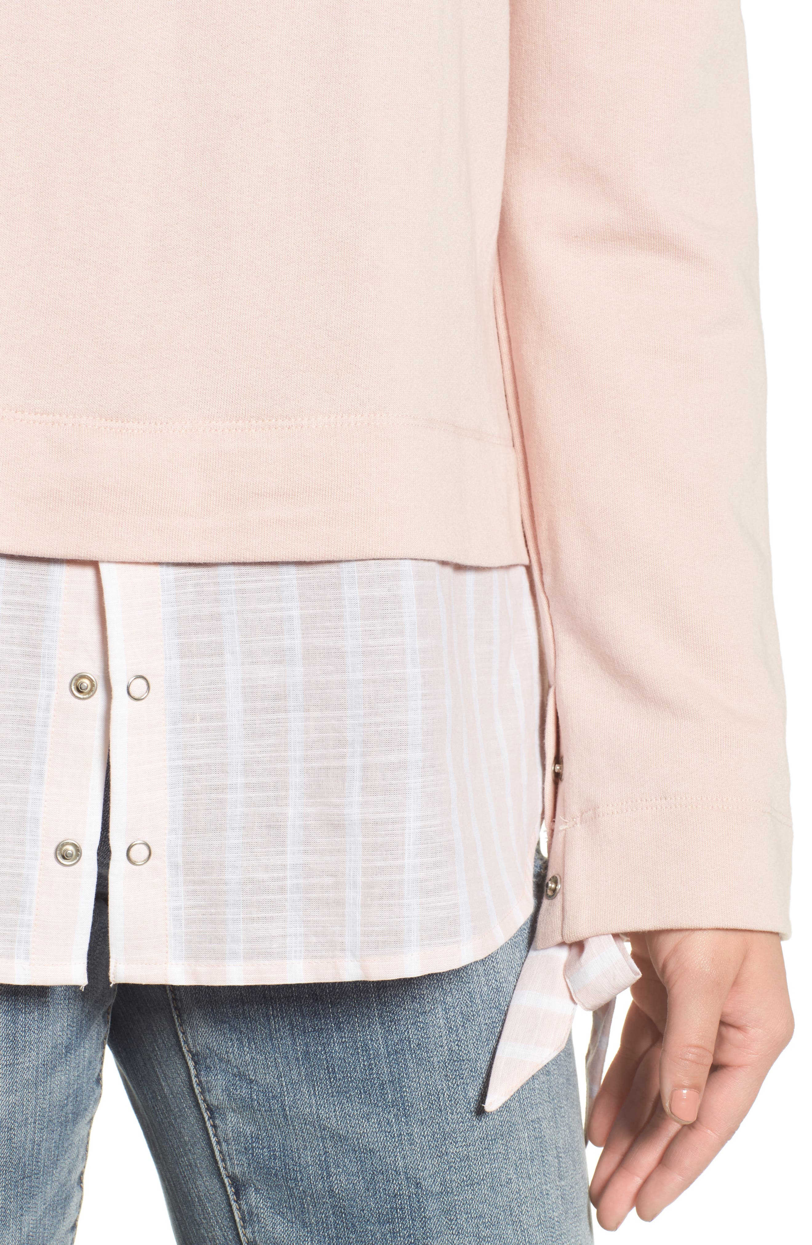 Woven Trim Layered Sweatshirt,                             Alternate thumbnail 4, color,                             Pink- Stripe Colorblock