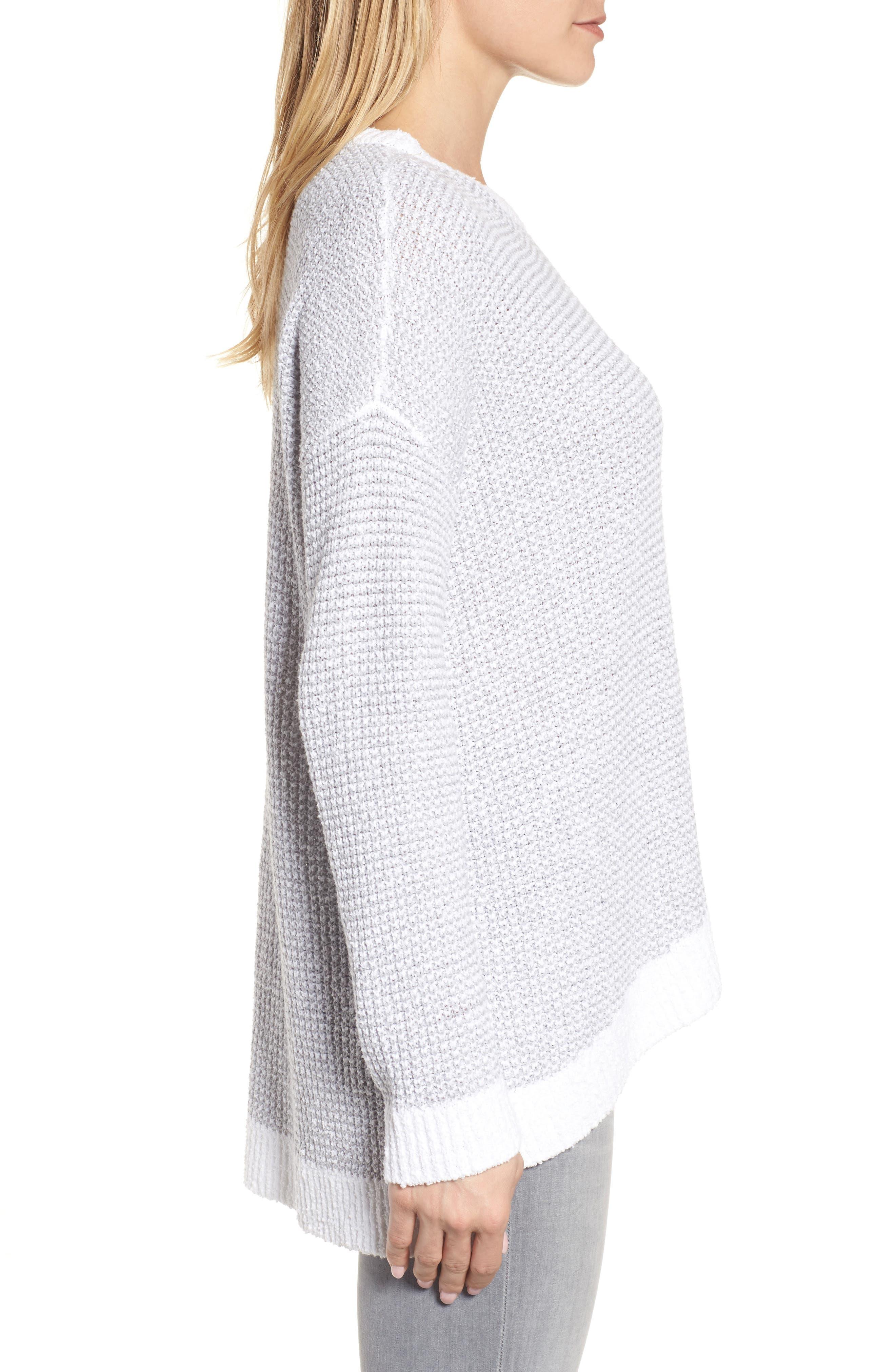 Waffled Organic Cotton Sweater,                             Alternate thumbnail 3, color,                             Dark Pearl