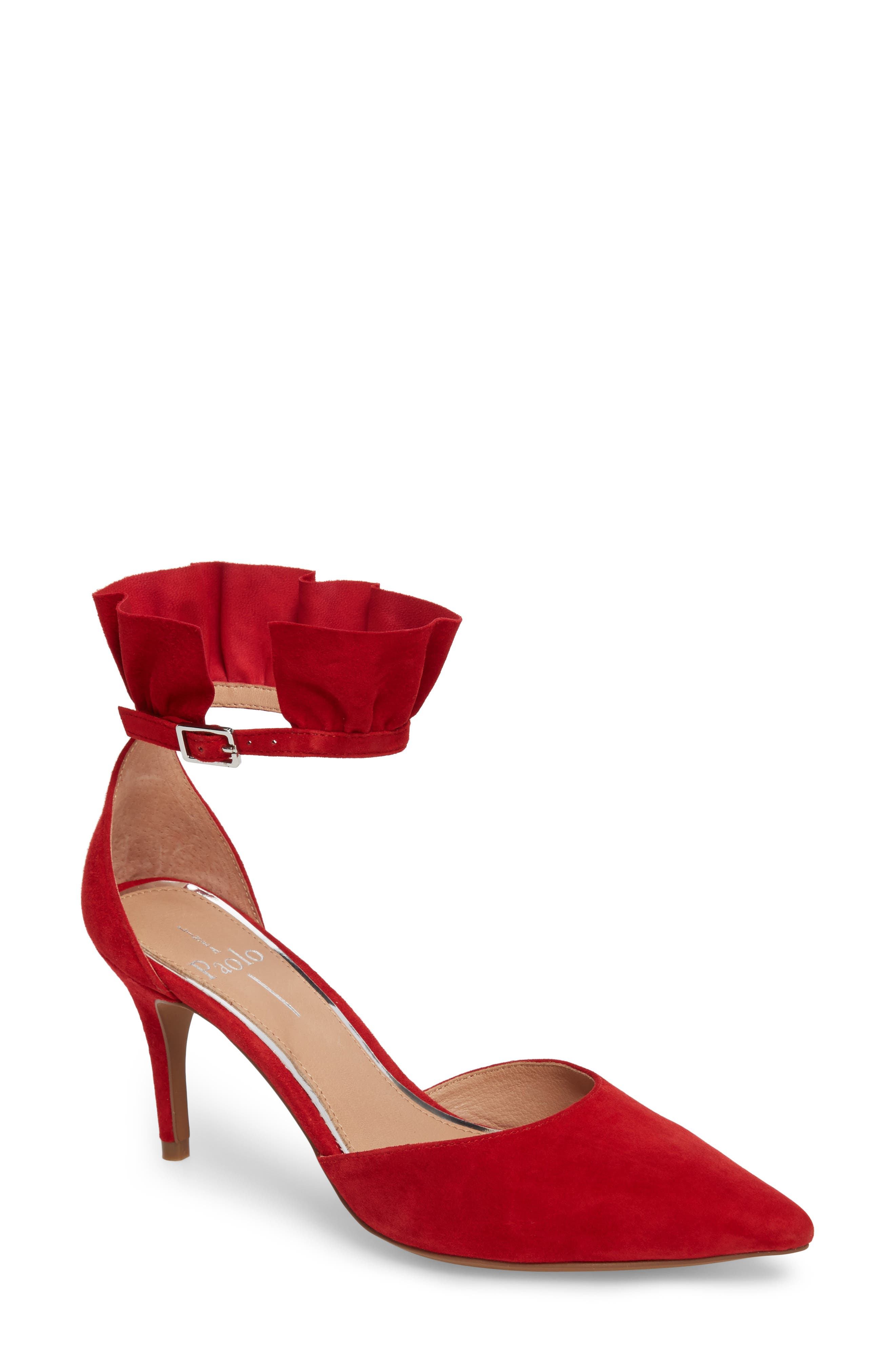 Pammy Ruffled Pointy Toe Pump,                             Main thumbnail 1, color,                             Red Suede