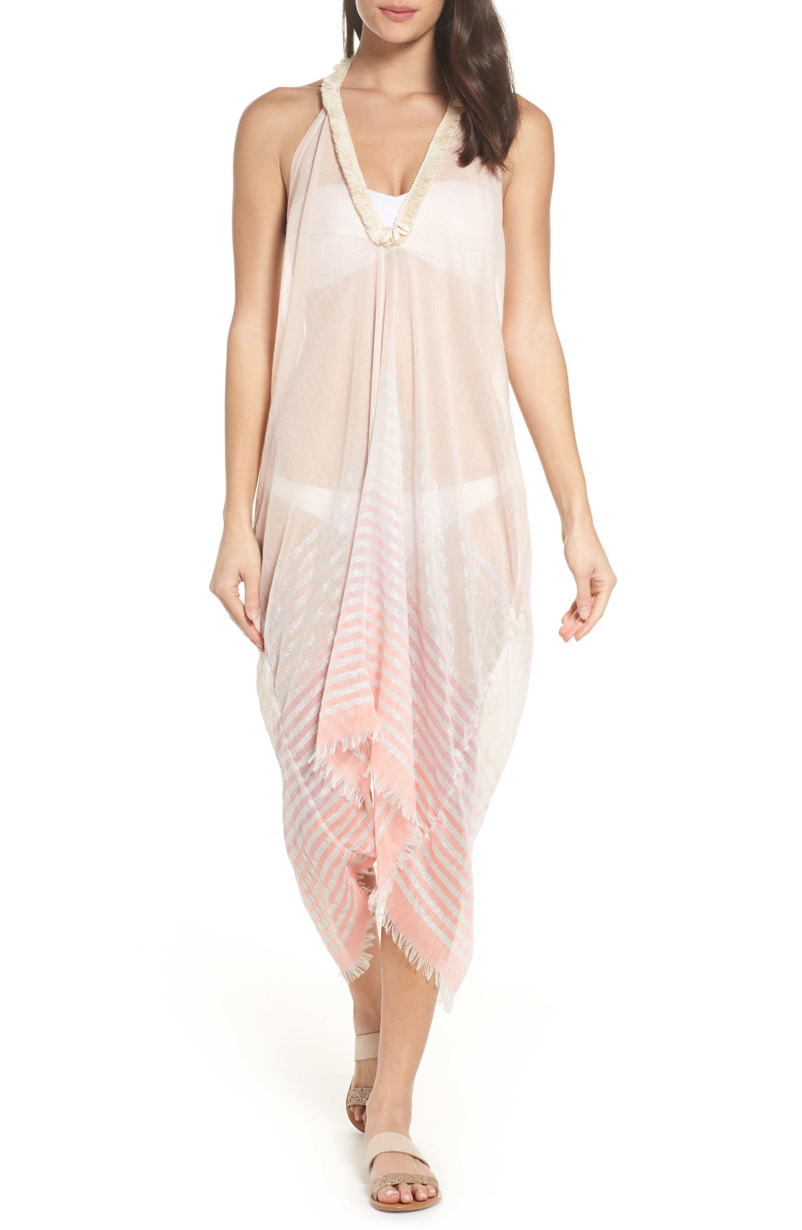 Halter Cover-Up Dress,                         Main,                         color, Coral