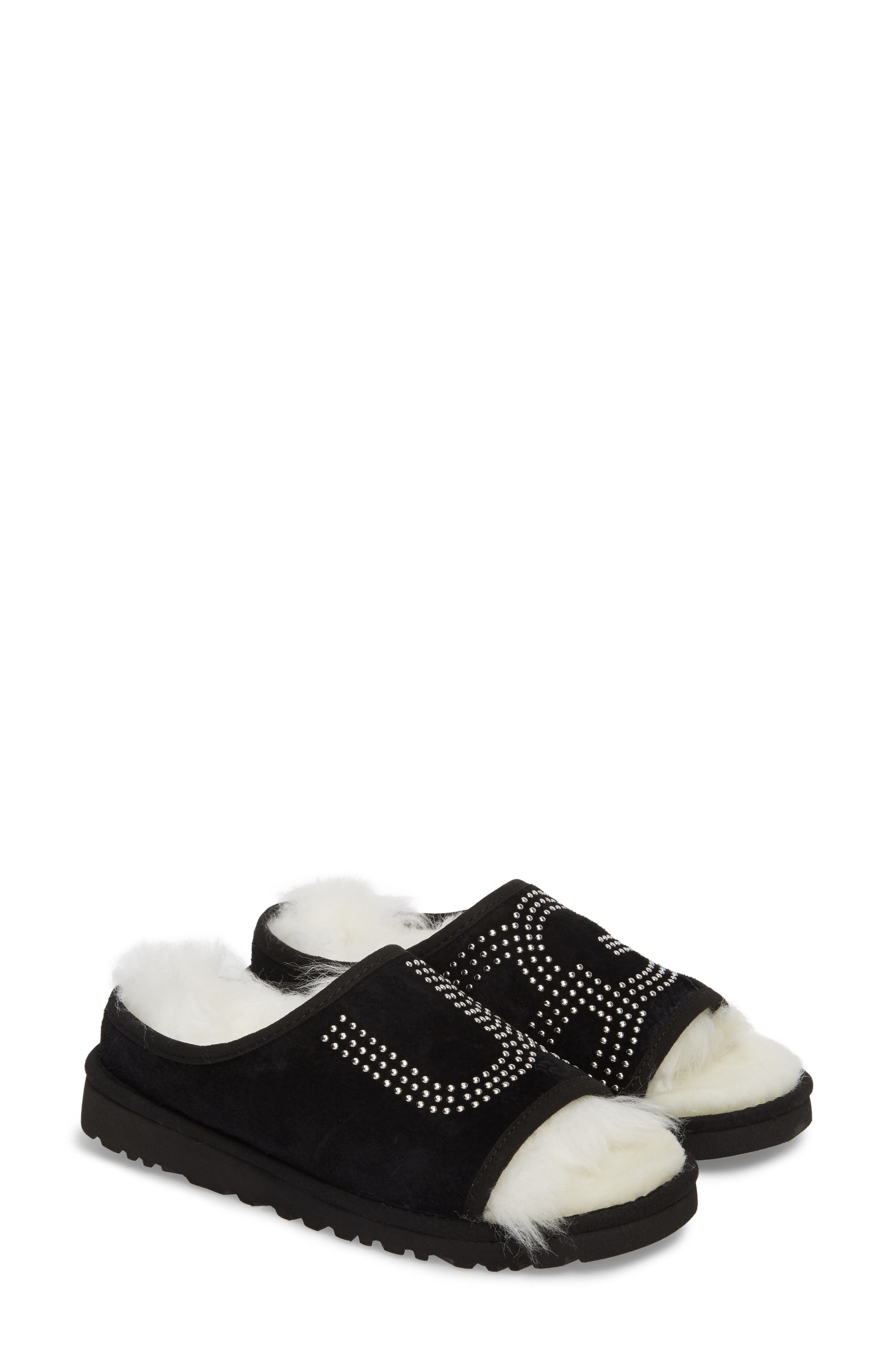 Logo Stud Slide Slipper,                             Main thumbnail 1, color,                             Black Suede