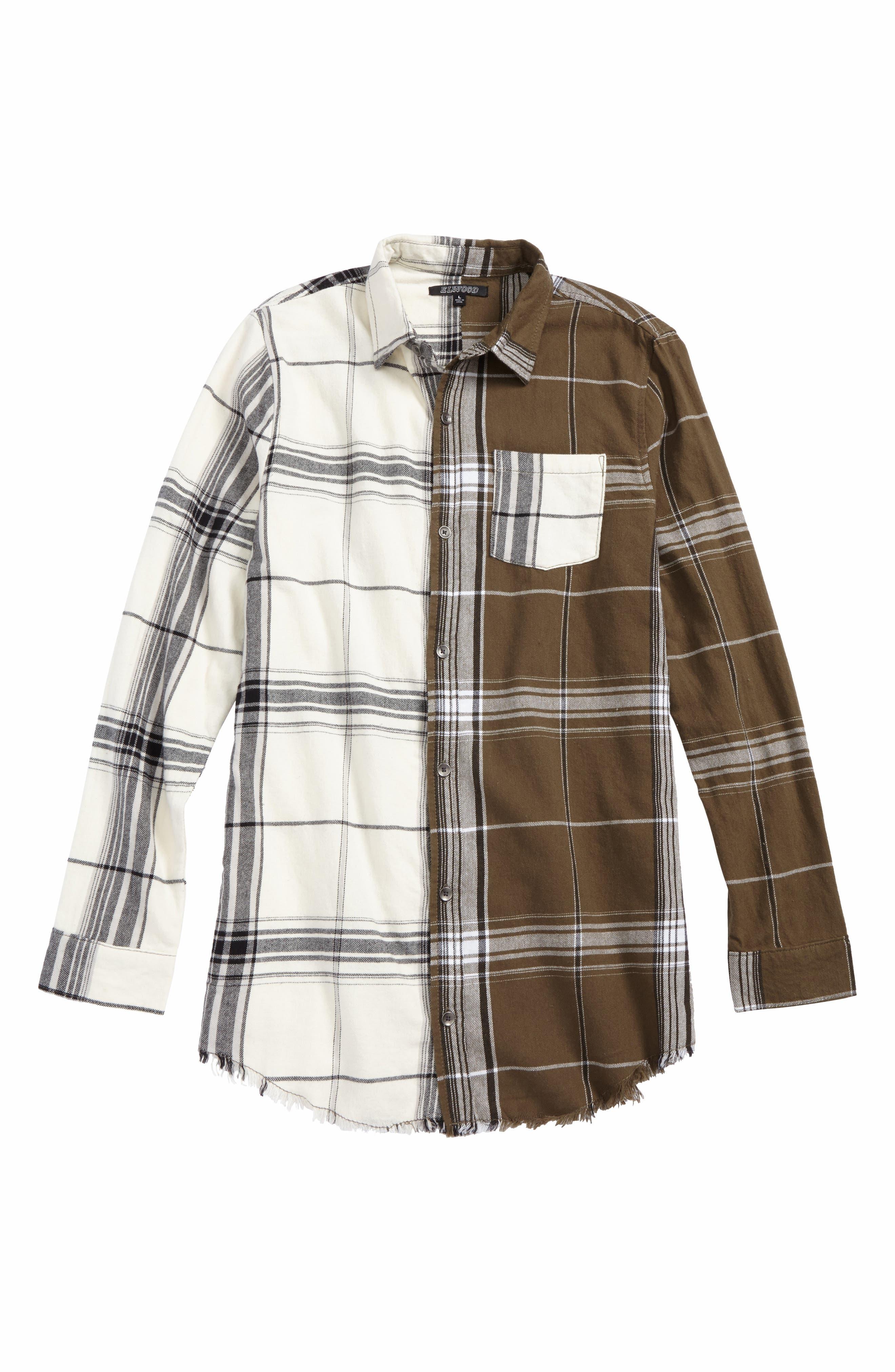 Raw Edge Flannel Shirt,                             Main thumbnail 1, color,                             Natural/ Olive Split Plaid