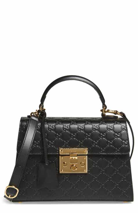 Gucci Small Padlock Top Handle Signature Leather Bag
