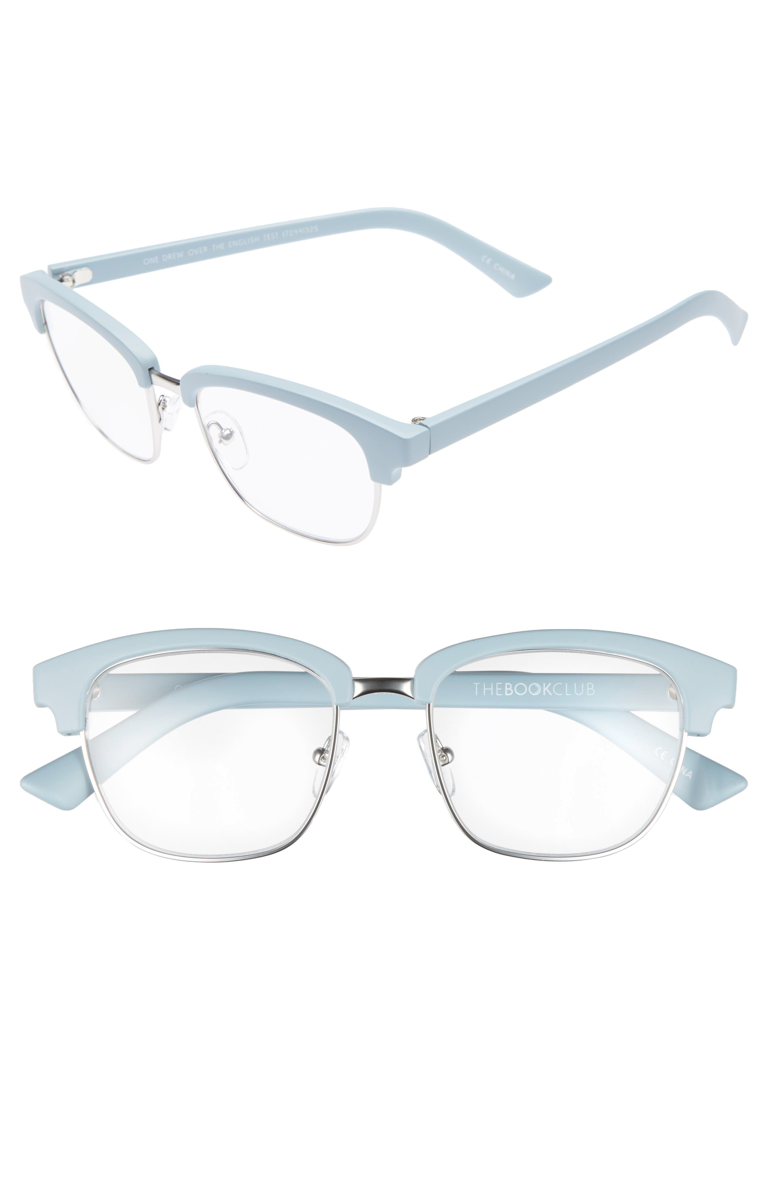 One Drew Over the English Test 52mm Reading Glasses,                             Main thumbnail 1, color,                             Sky/ Silver
