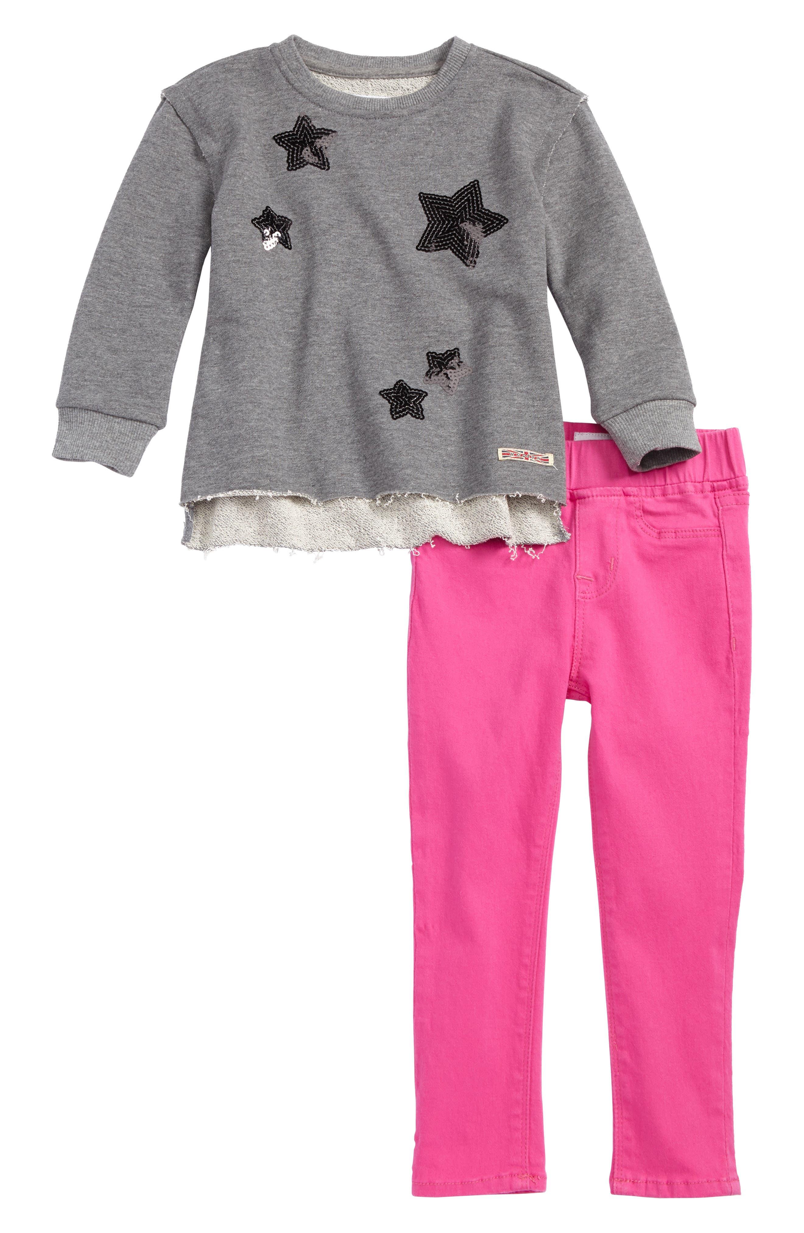 Hudson Kids French Terry Sweatshirt & Jeggings Set (Toddler Girls)