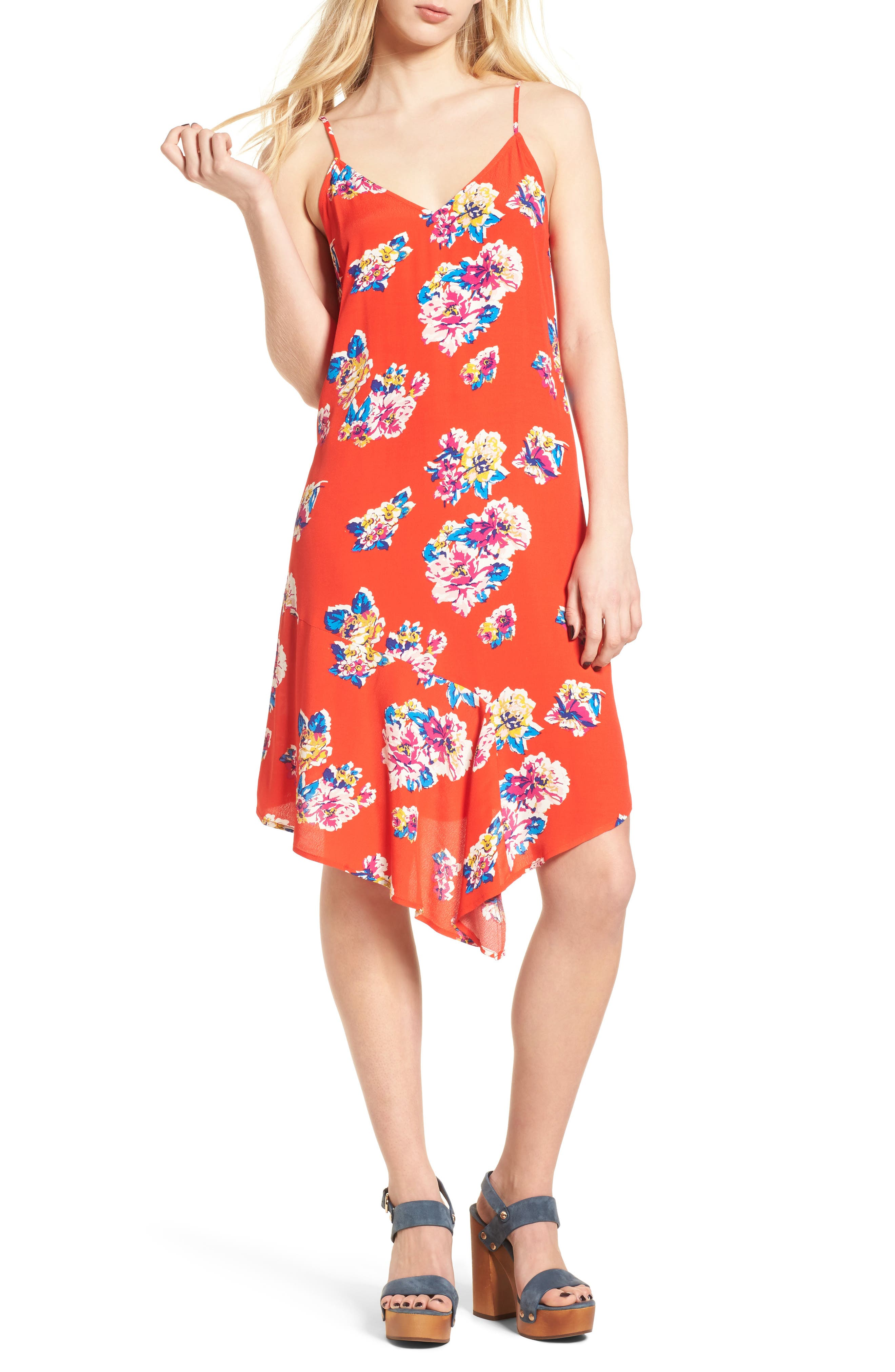 Asymmetrical Floral Print Dress,                             Main thumbnail 1, color,                             Red Fiery Bold Bloom