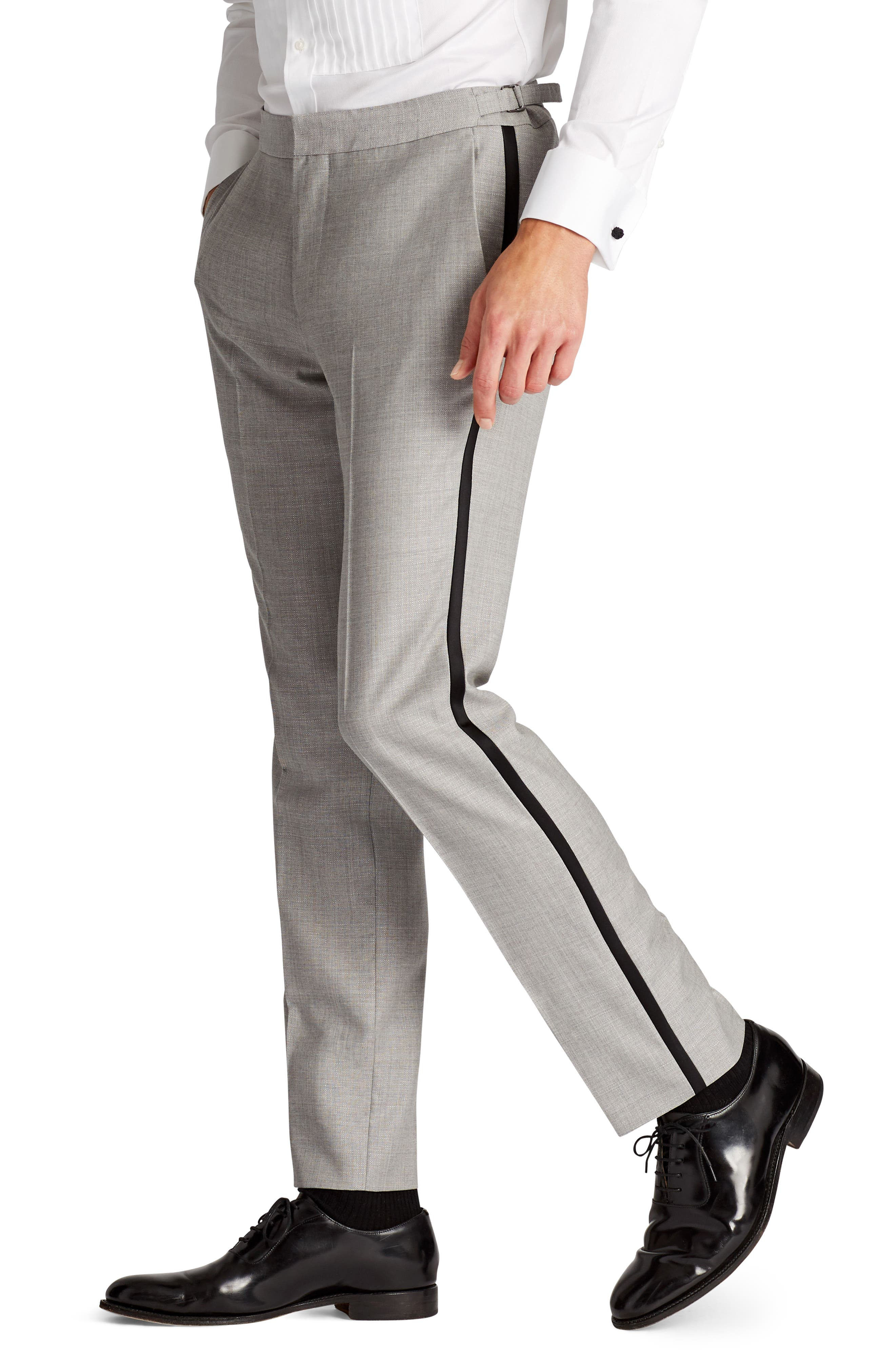 Capstone Flat Front Tuxedo Trousers,                             Alternate thumbnail 3, color,                             Pearl Grey