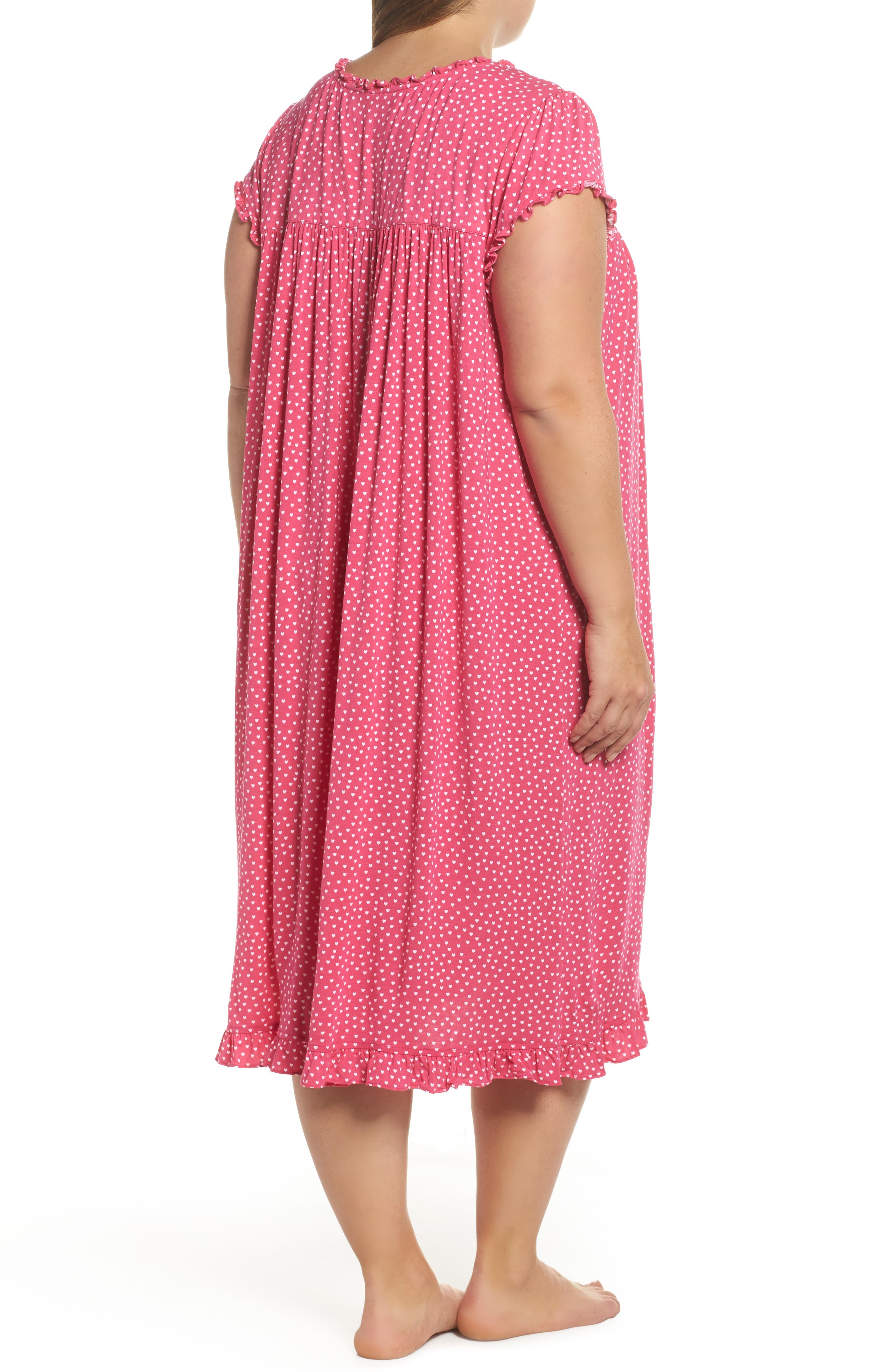 Modal Jersey Nightgown,                             Alternate thumbnail 2, color,                             Peony White Hearts