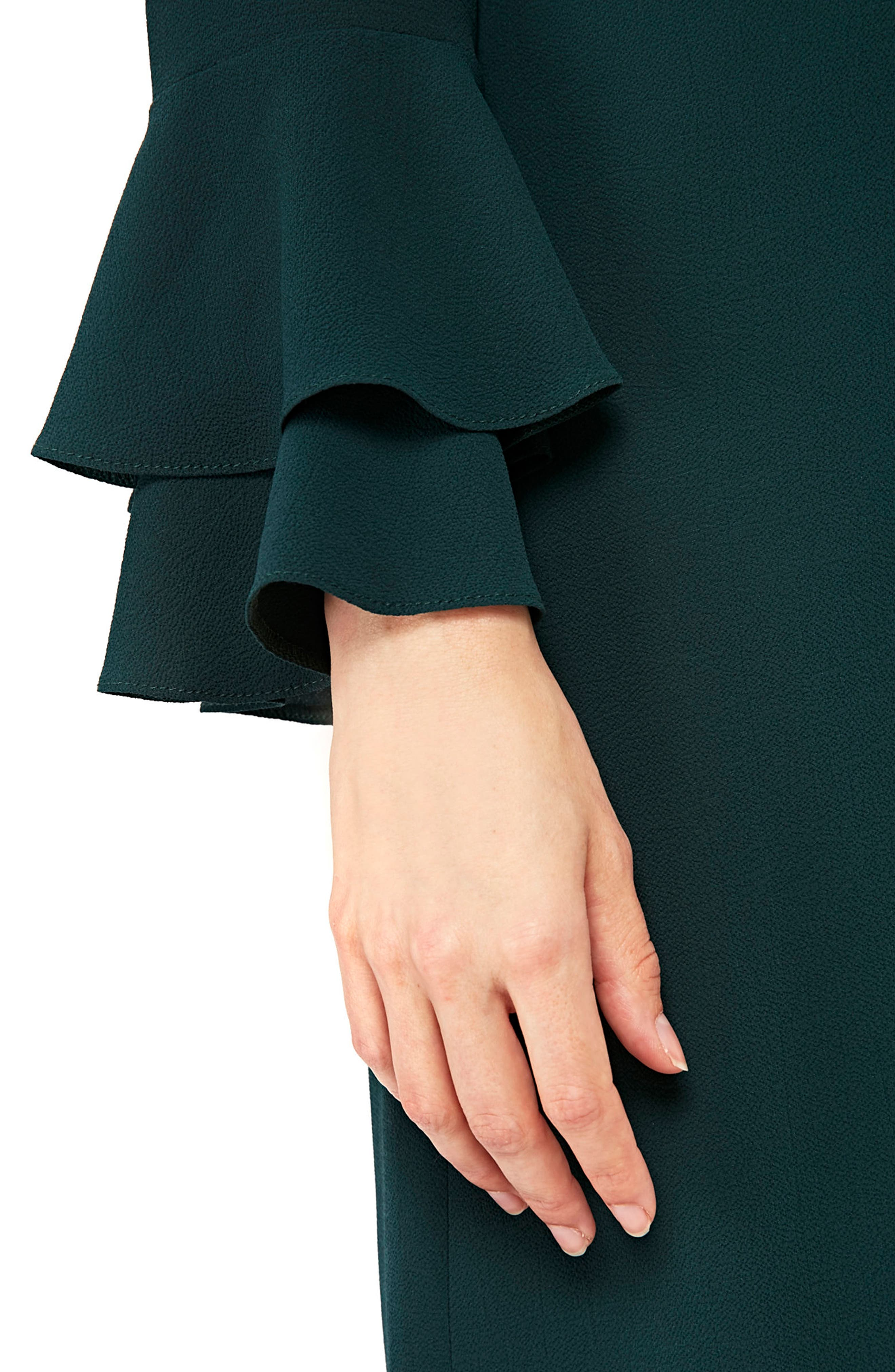 Double Bell Sleeve Shift Dress,                             Alternate thumbnail 4, color,                             Green