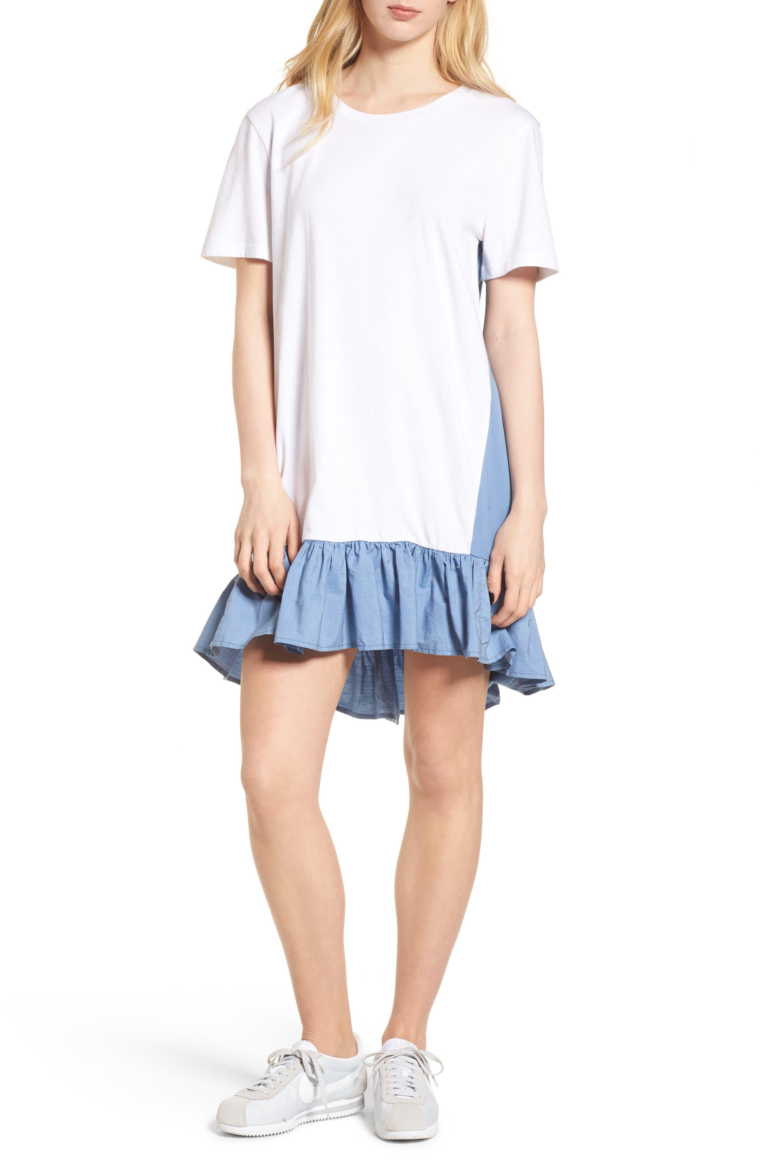 Mixed Media T-Shirt Dress,                             Main thumbnail 1, color,                             White