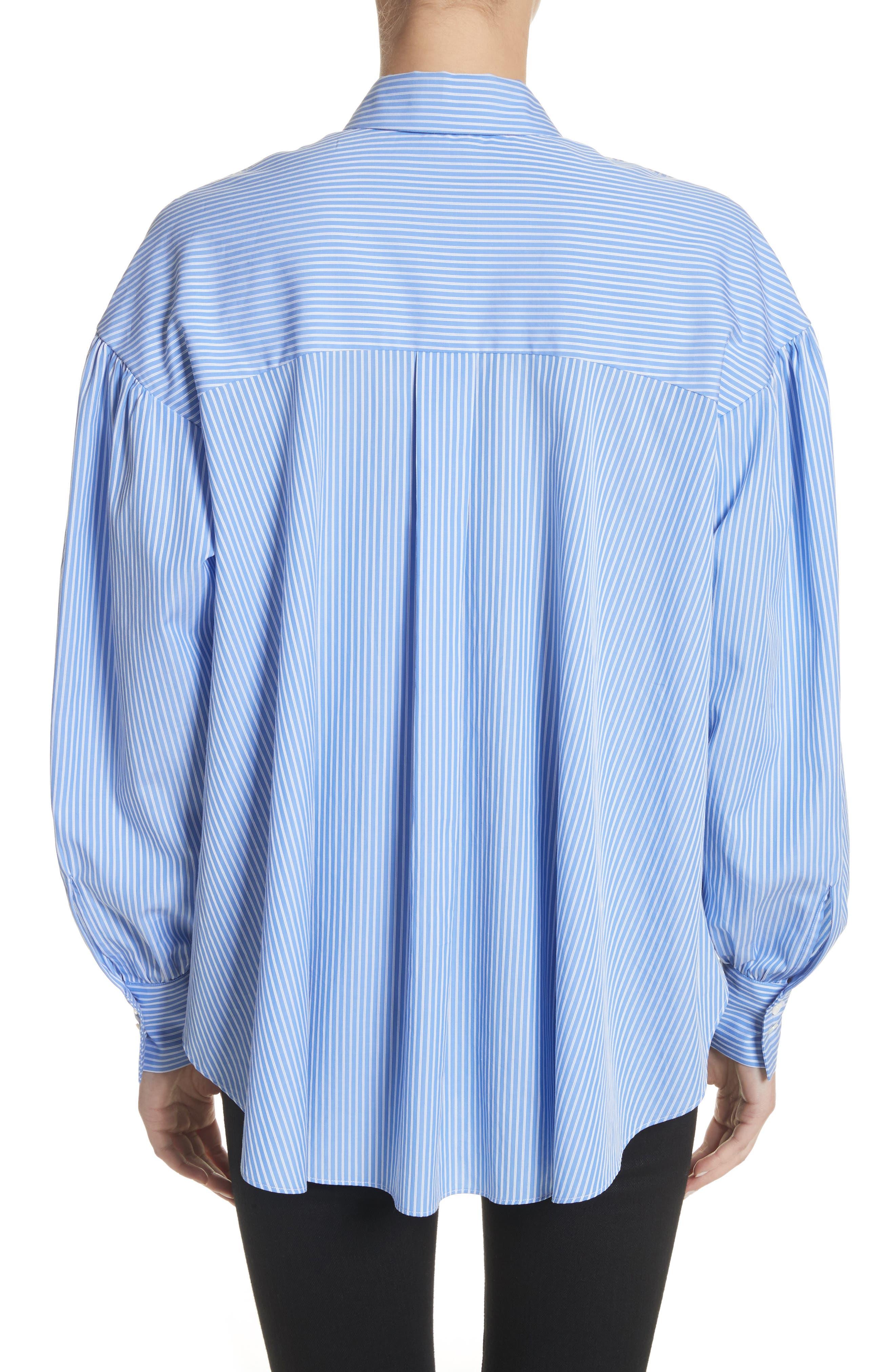 Stripe Puff Sleeve Shirt,                             Alternate thumbnail 2, color,                             Blue Stripe