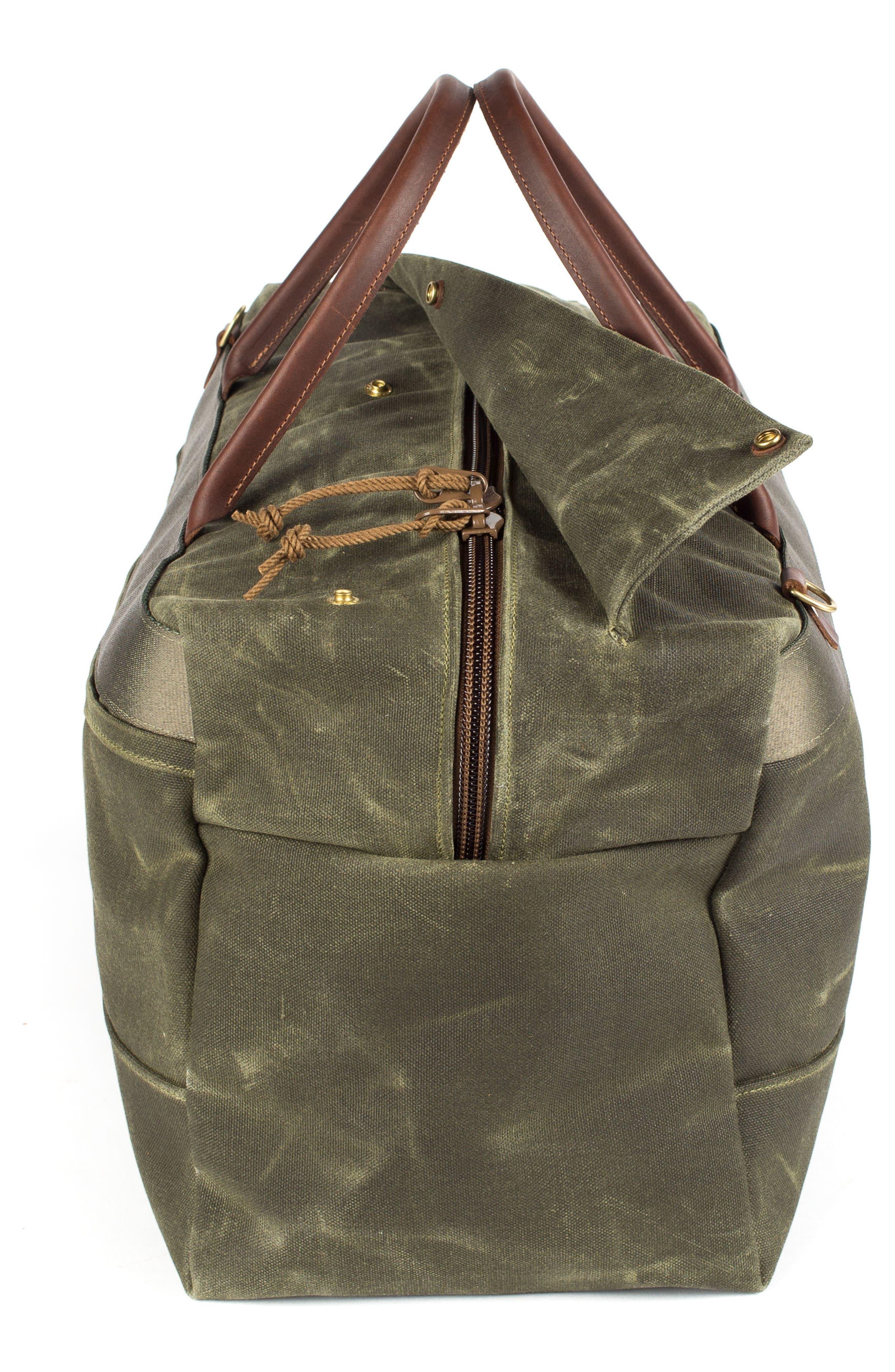 Grand Tourer Waxed Canvas Duffel Bag,                             Alternate thumbnail 4, color,                             Balmoral Moss