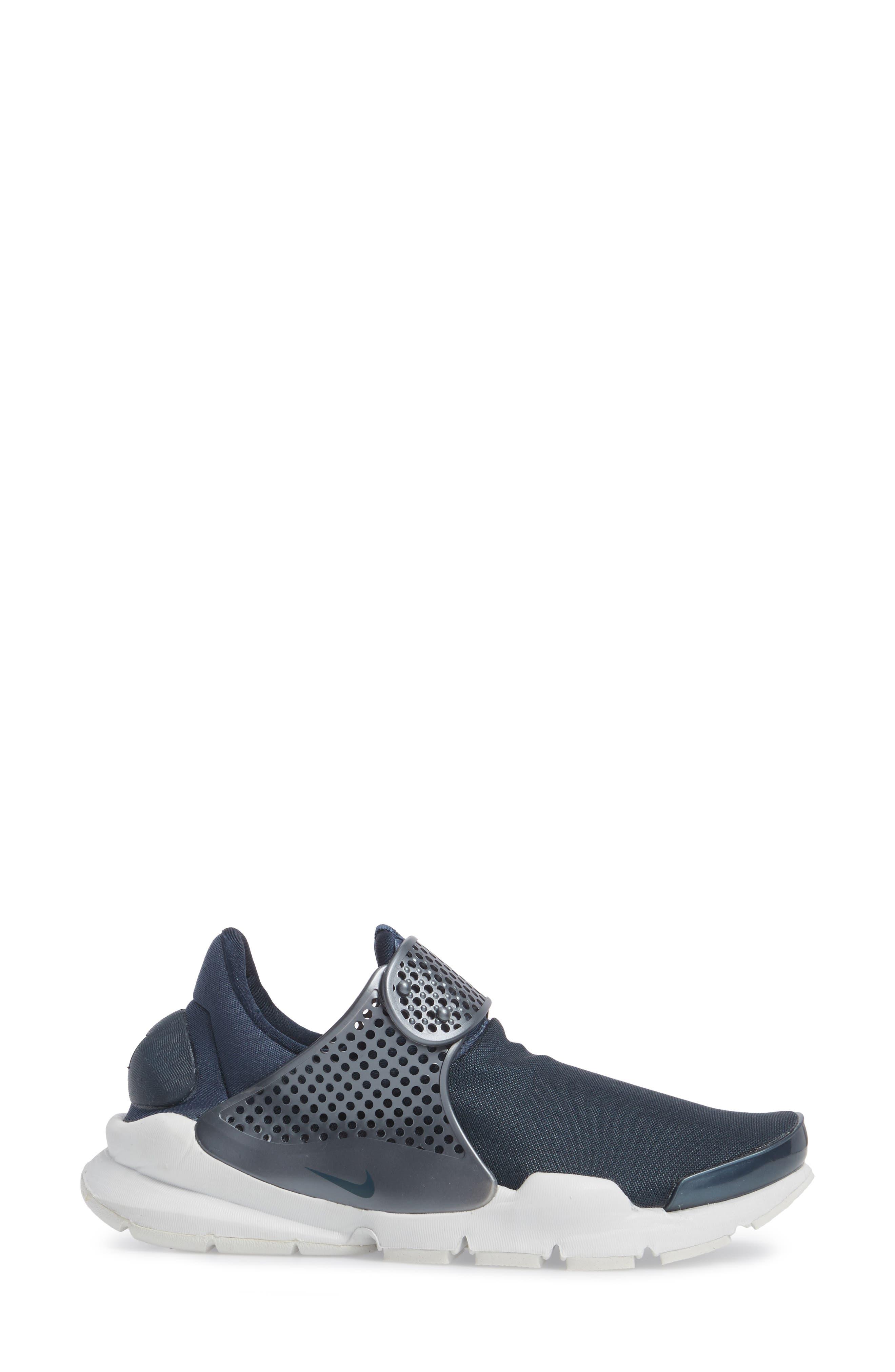 Sock Dart Sneaker,                             Alternate thumbnail 3, color,                             Metallic/ Armory Navy