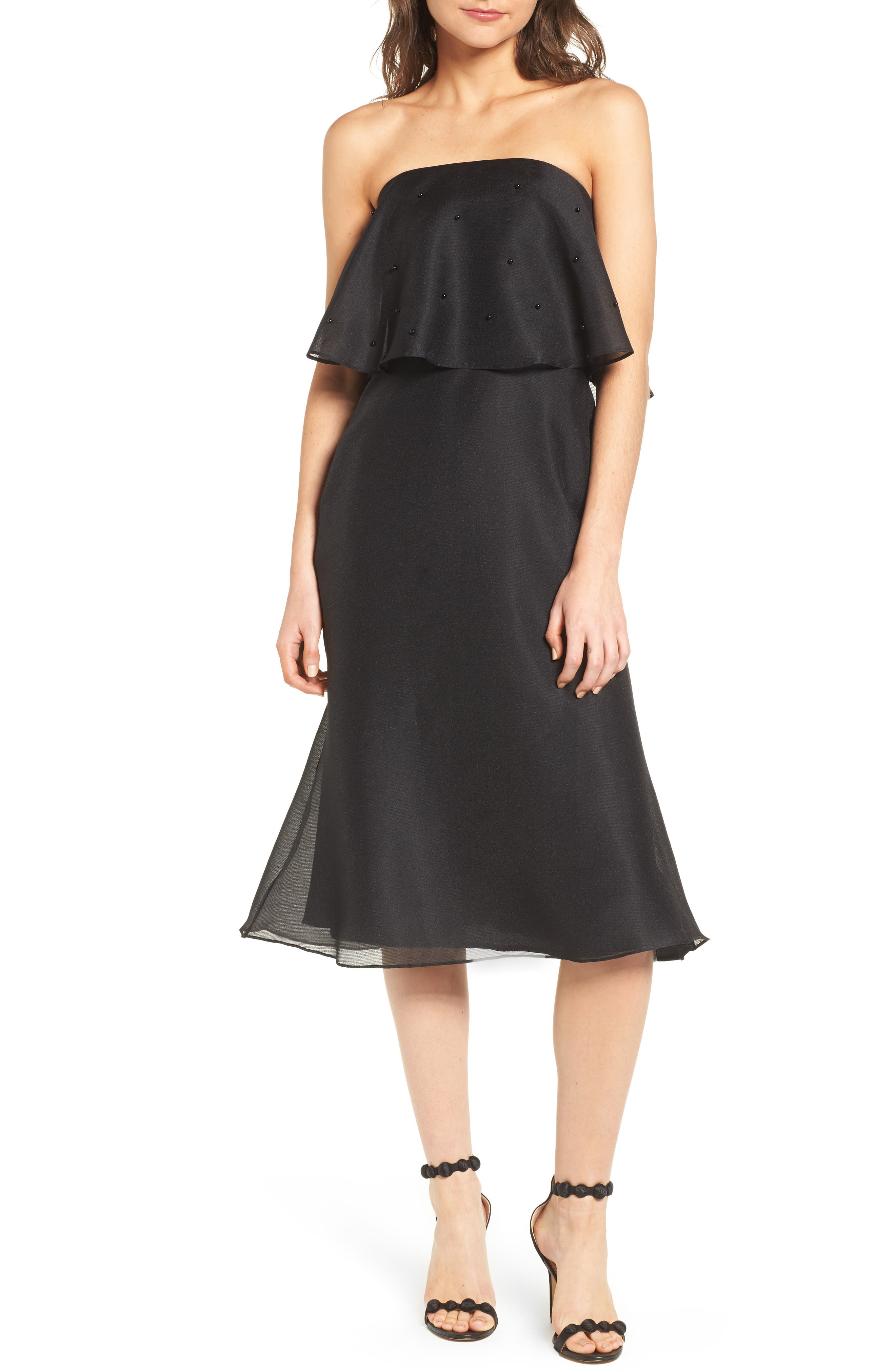 Call Me Strapless Dress,                         Main,                         color, Black